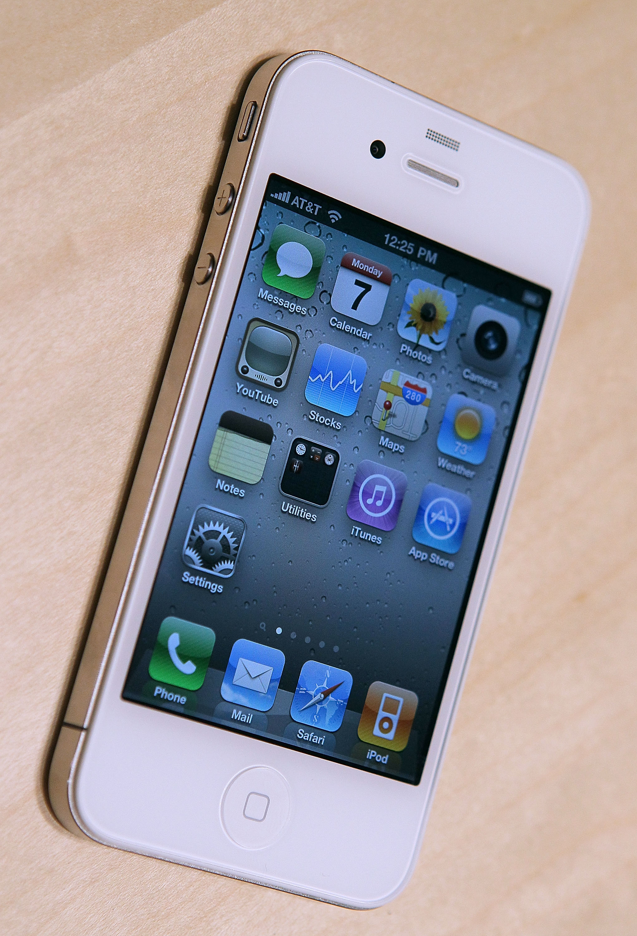 The new iPhone 4 is displayed at the 2010 Apple World Wide Developers conference June 7, 2010 in San Francisco, California.