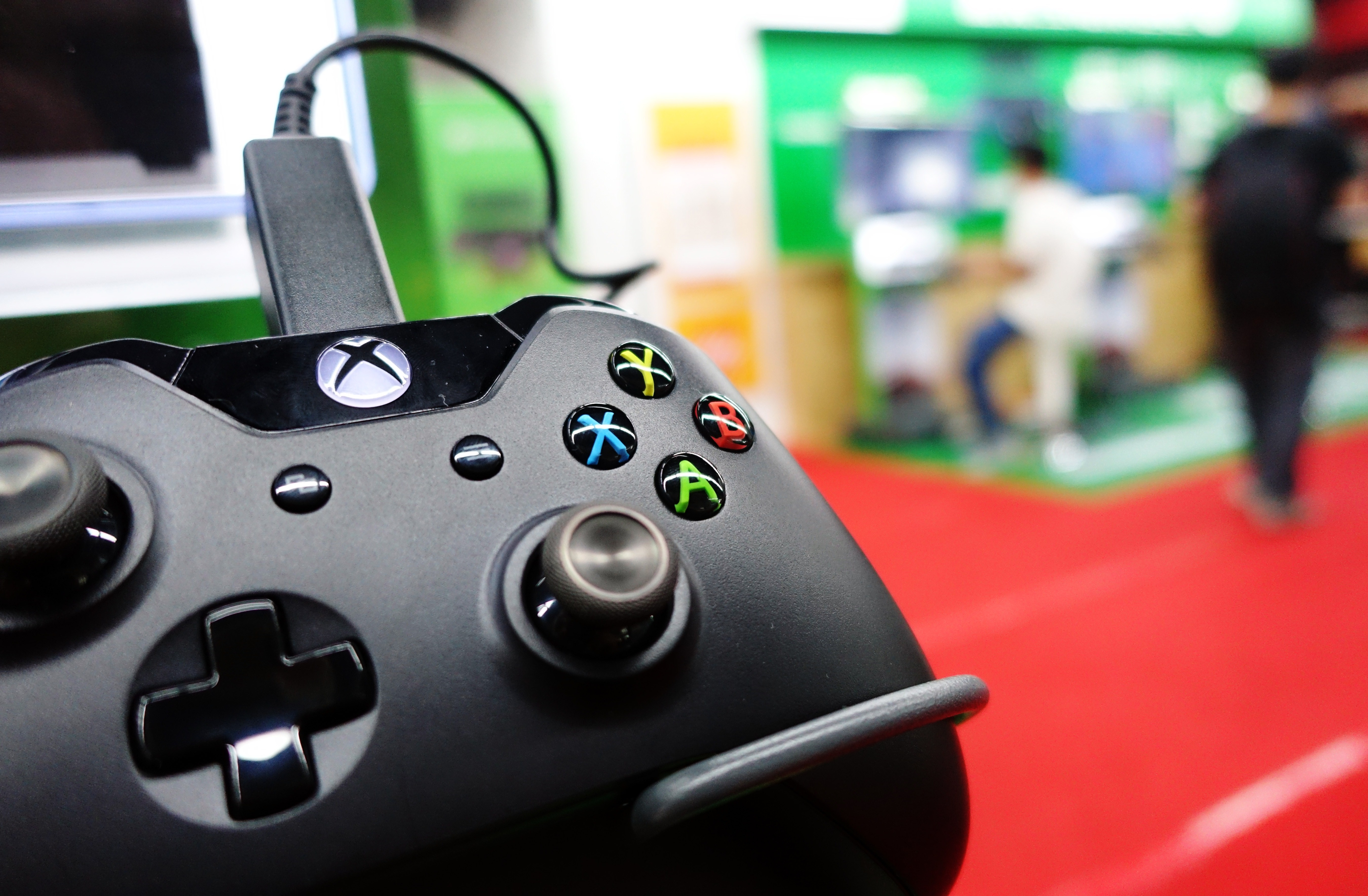 A control of a Microsoft's Xbox One game console is pictured in a shop in Shanghai on September 29, 2014.