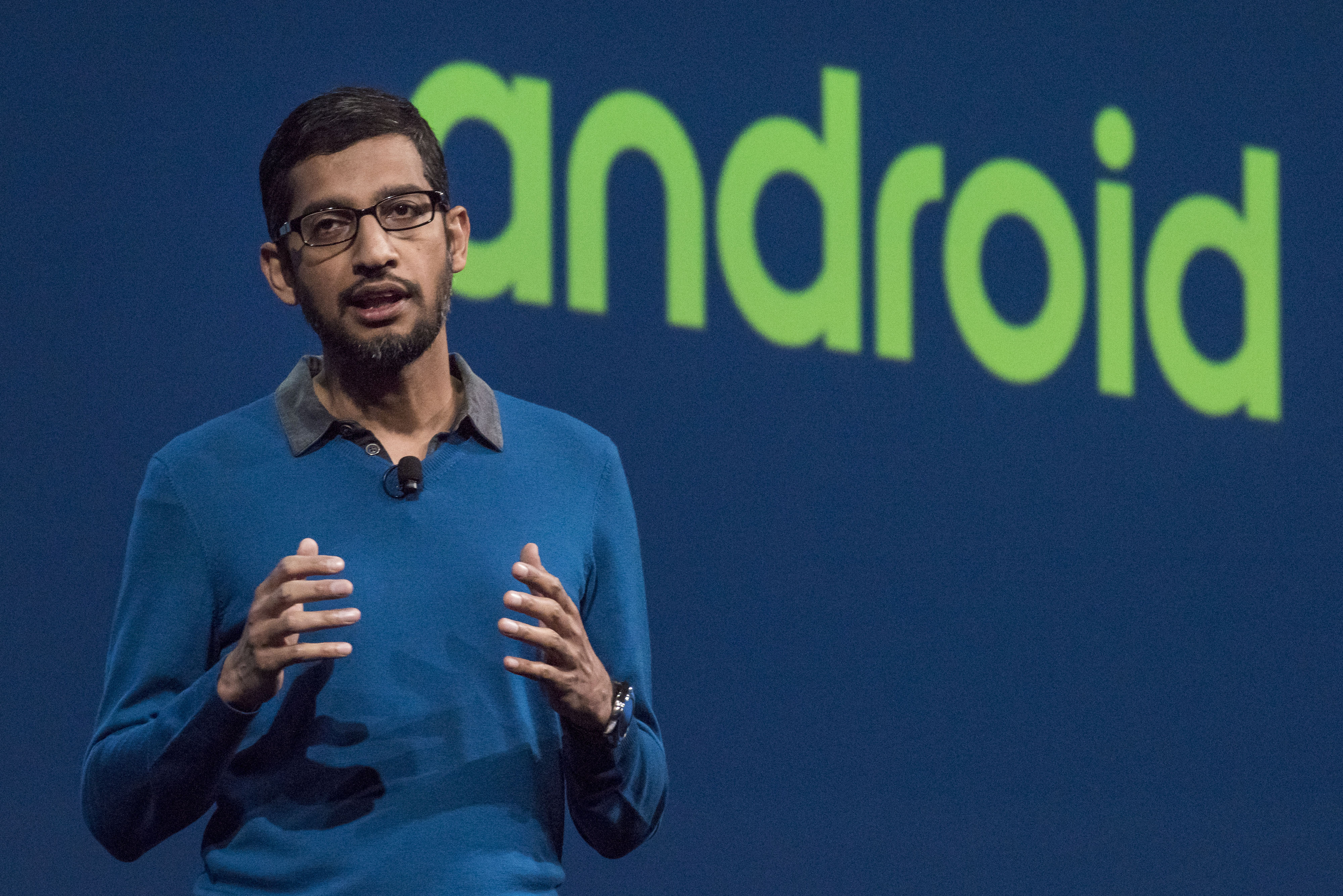 Sundar Pichai, senior vice-president of Products for Google Inc., speaks during the Google I/O Annual Developers Conference in San Francisco, California, U.S., on Thursday, May 28, 2014.