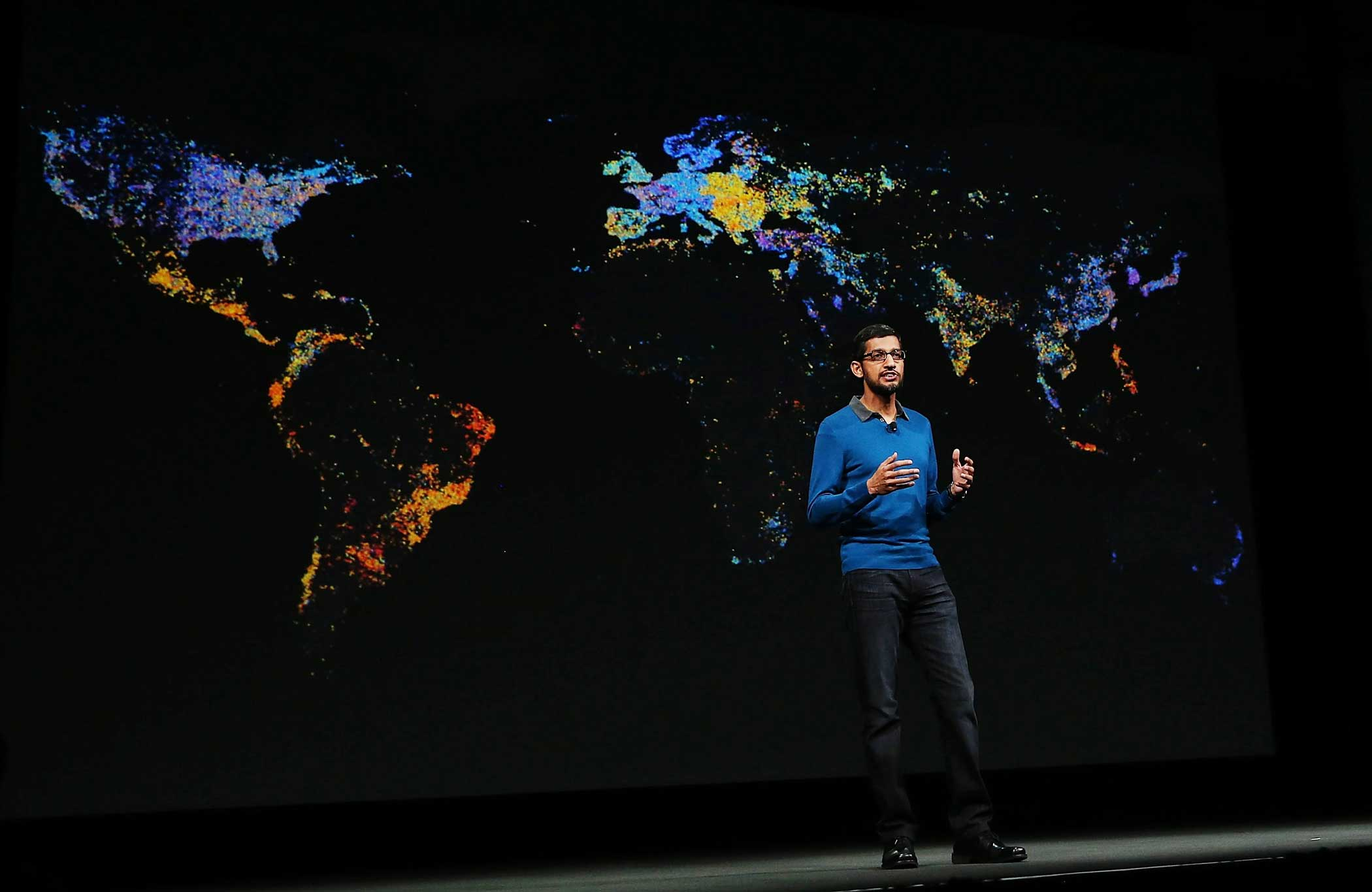 Google senior vice president of product Sundar Pichai delivers the keynote address during the 2015 Google I/O conference on May 28, 2015 in San Francisco.