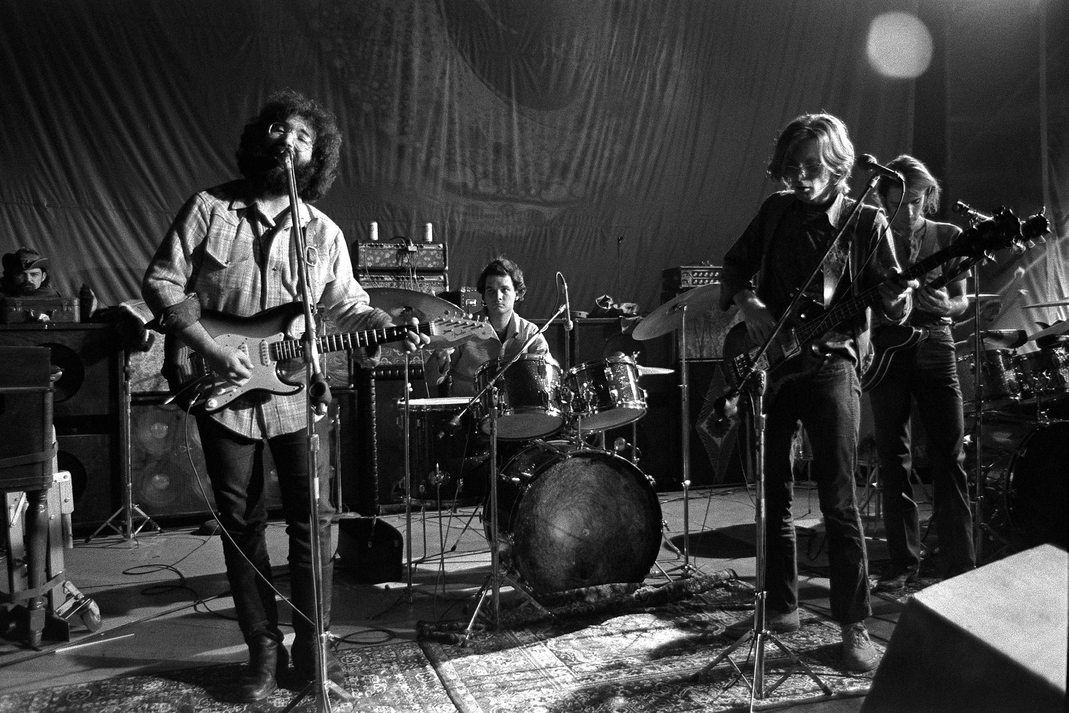 From left: Ron 'Pigpen' McKernan, Jerry Garcia, Bill Kreutzmann, Phil Lesh and Bob Weir of the Grateful Dead perform onstage at The Family Dog in 1970 in San Francisco, Calif.