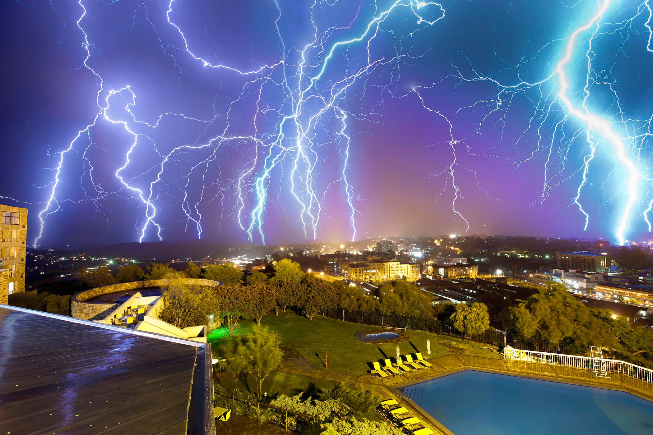 A multiple exposure photograph shows lightning striking above Maseru, capital of Lesotho, Sept. 27, 2011.