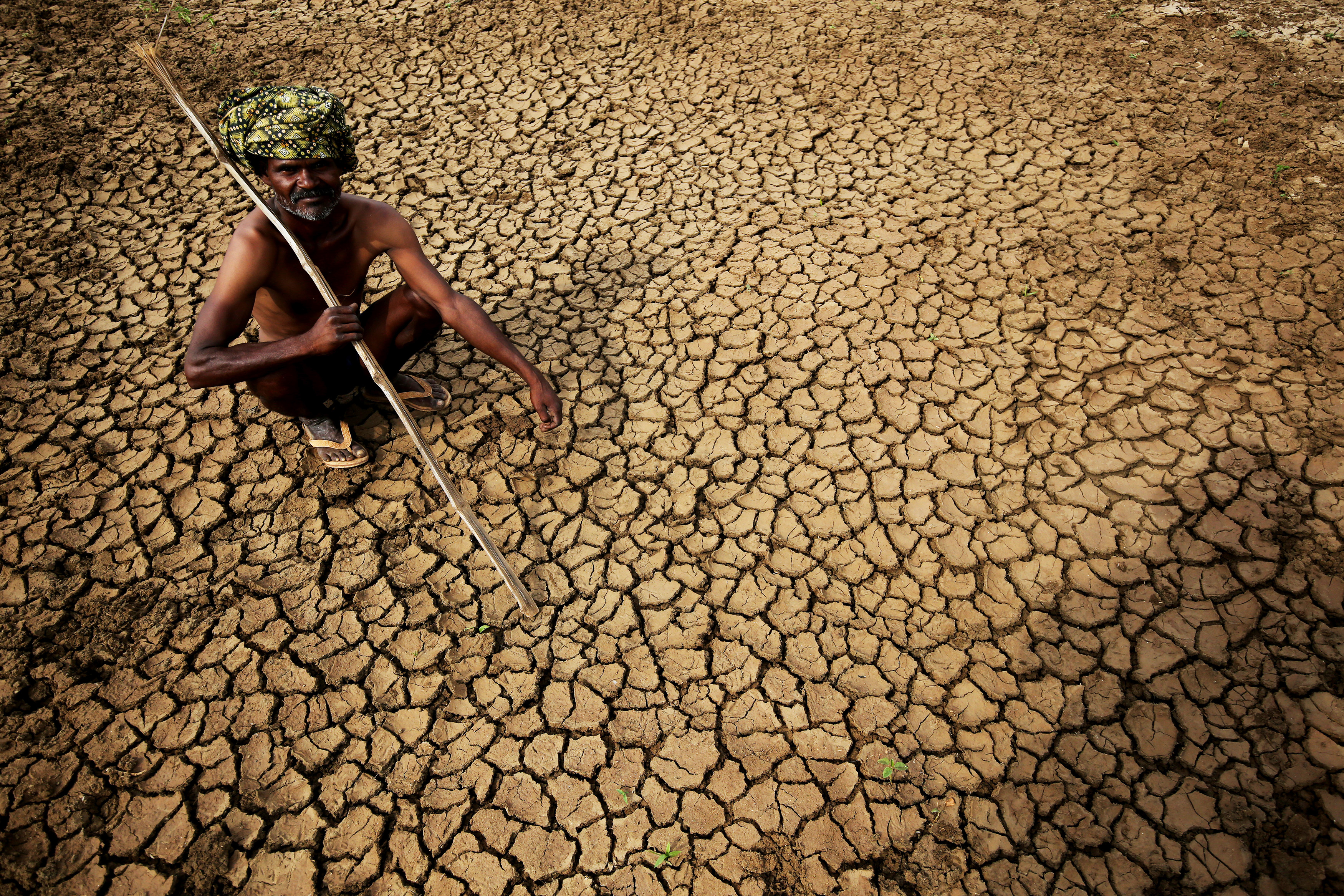 An Indian farmer sits in his dried-up land in Gauribidanur village, near Bangalore, India, on May 26, 2015
