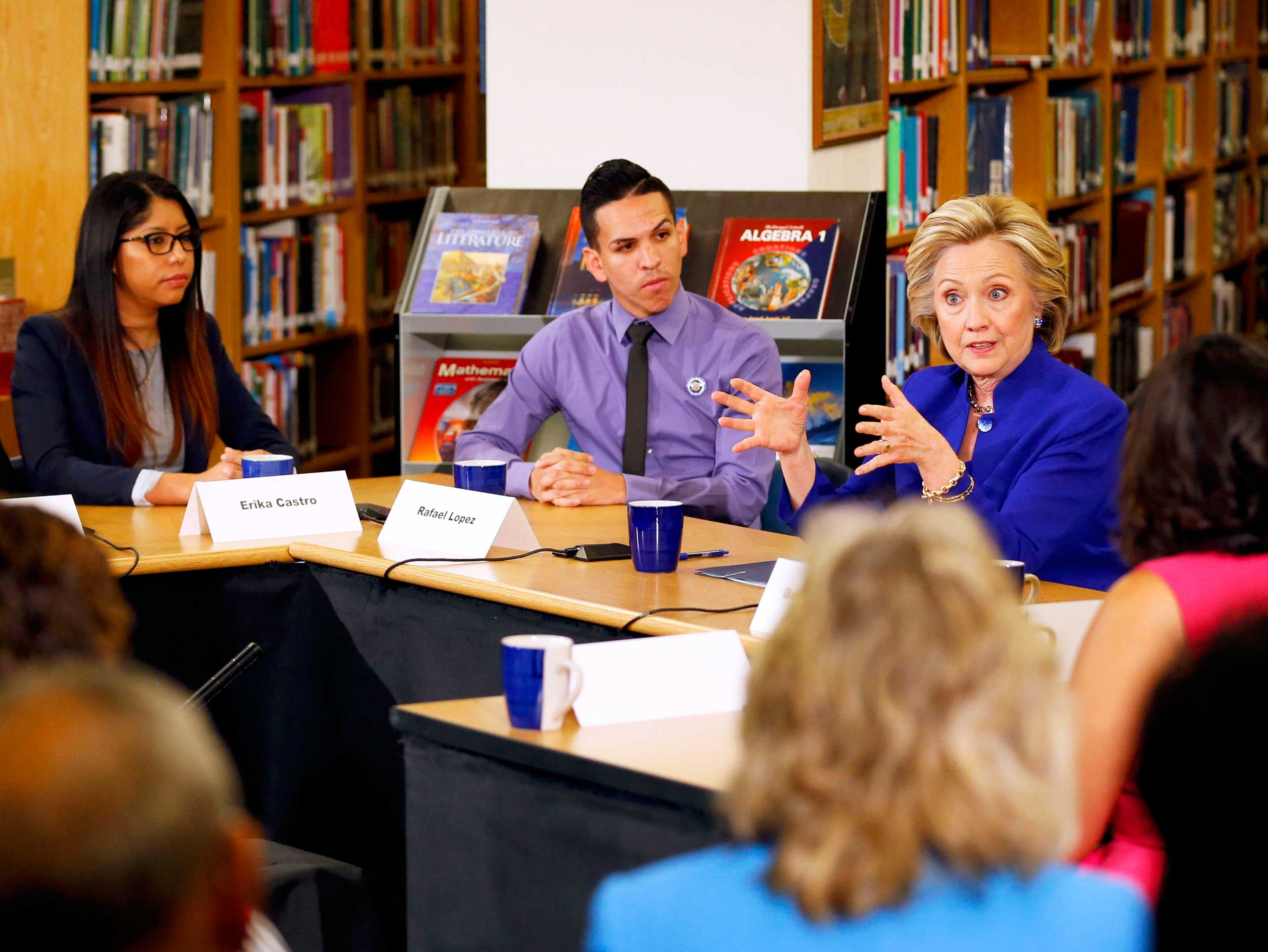 Las Vegas, NV - May 5: Clinton discussed immigration with a roundtable in Las Vegas, Nevada, a primary state with a heavy population of Hispanic immigrants, calling for a path to citizenship for undocumented immigrants.