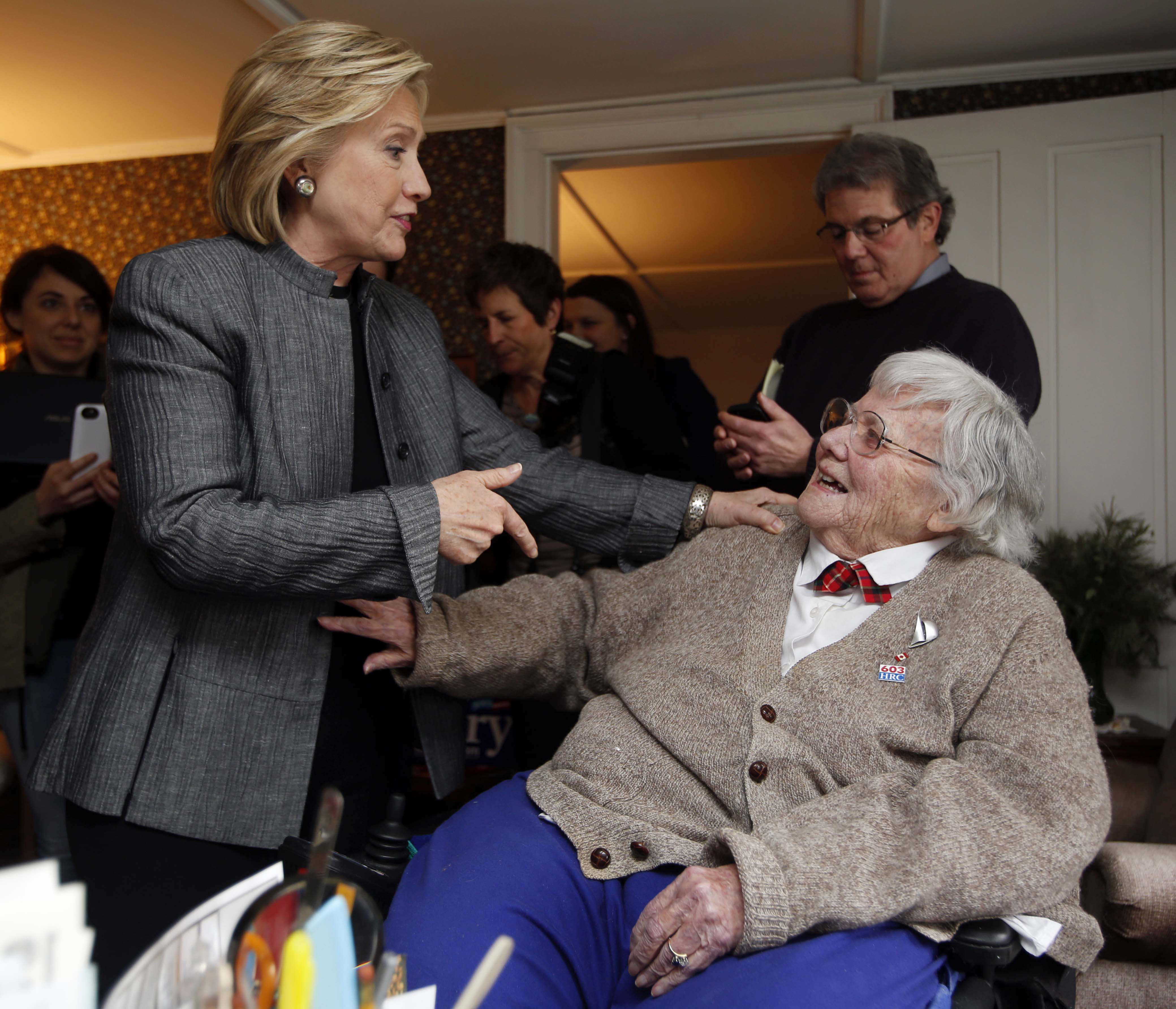 Concord, N.H. - April 21:  Clinton paid her dues with a required visit for Democratic hopefuls in New Hampshire: a gathering at the home of 94-year-old former state Sen. Mary Louise Hancock, the so-called grand dame of New Hampshire politics.