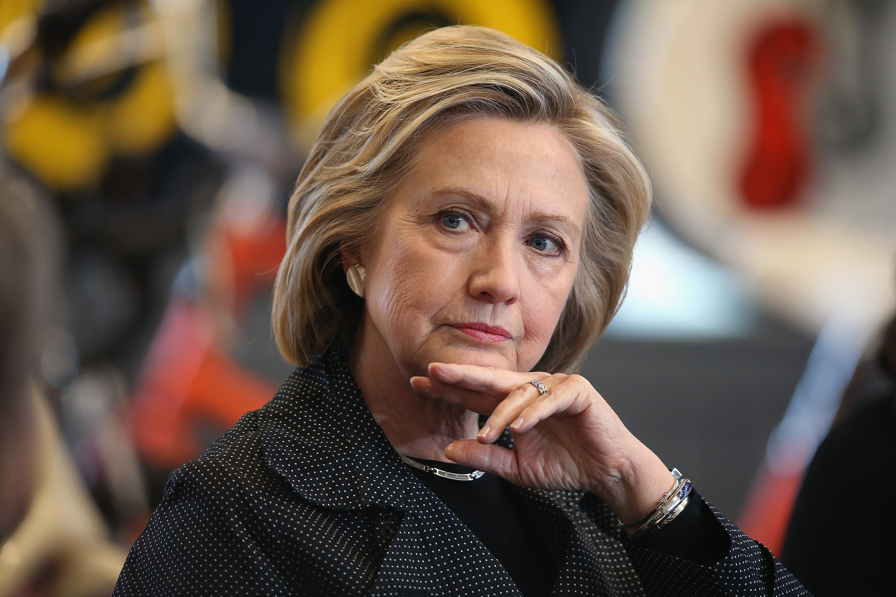Democratic presidential hopeful and former Secretary of State Hillary Clinton hosts a small business forum with members of the business and lending communities at Bike Tech bicycle shop in Cedar Falls, Iow, on May 19, 2015.
