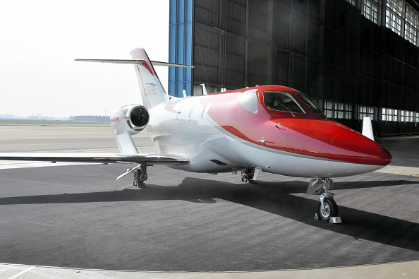 A HondaJet is displayed at a hangar at Tokyo International Airport on April 23, 2015 in Tokyo, Japan.