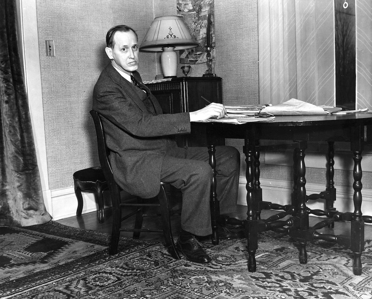 Presidential advisor Harry Hopkins writing a speec