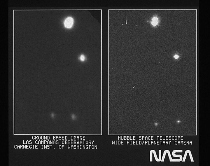 On the right is part of the first image taken with NASA's Hubble Space Telescope's (HST) Wide Field/Planetary Camera. It is shown with a ground-based picture from Las Campanas, Chile, Observatory of the same region of the sky.