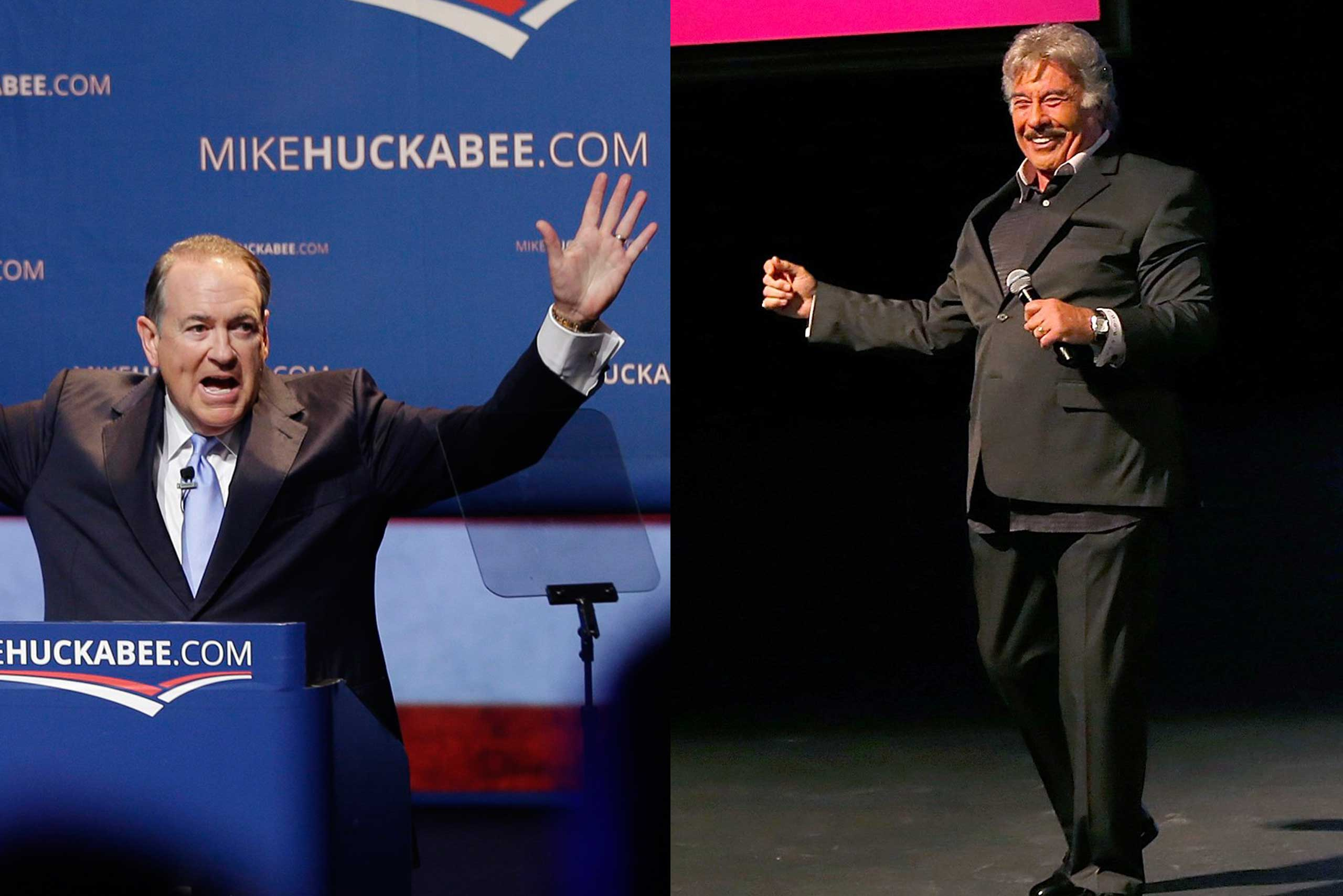 Former Arkansas Gov. Mike Huckabee announced his campaign at a community college in his hometown of Hope, Ark., on May 5. Singer Tony Orlando (right) performed.