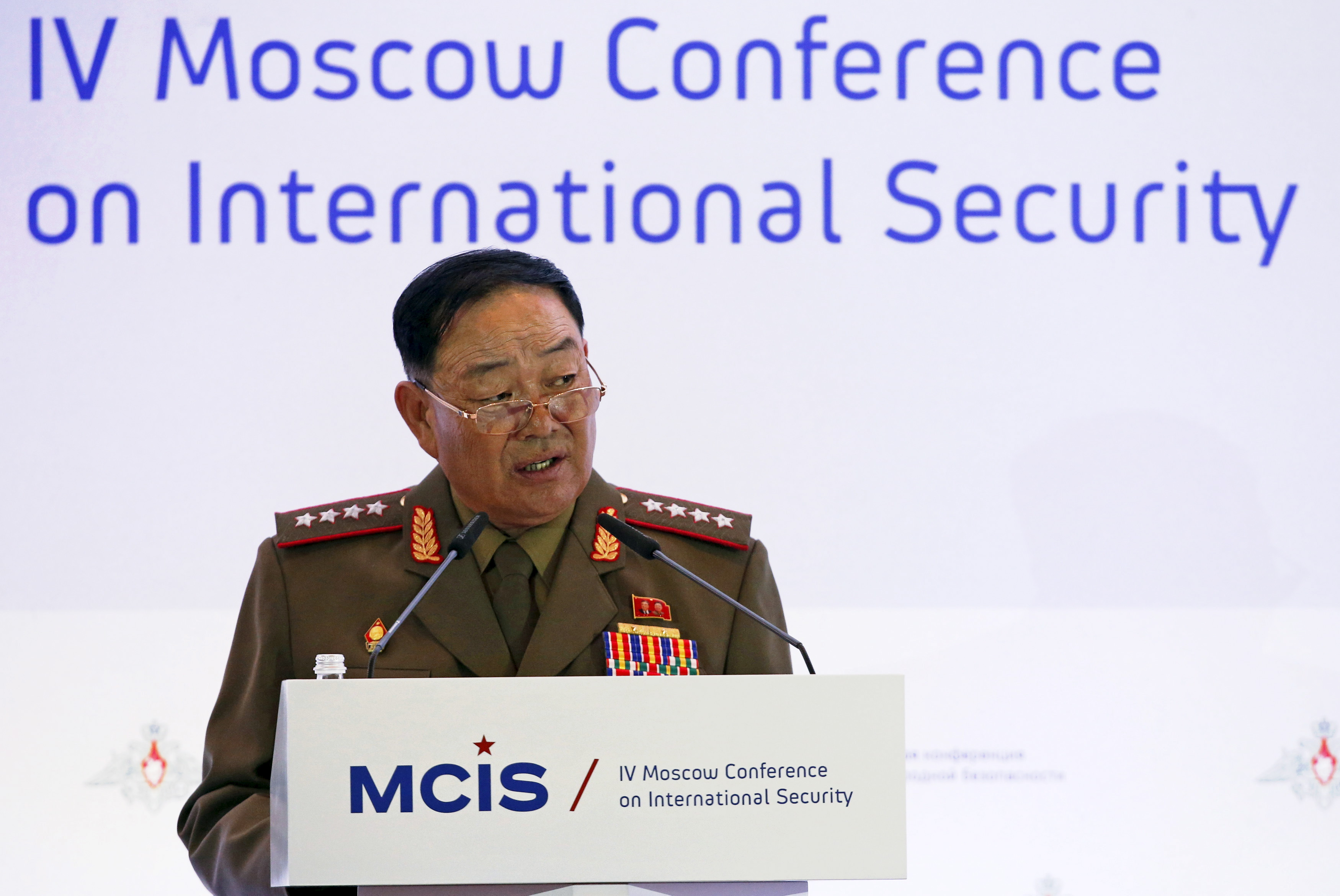 Senior North Korean military officer Hyon Yong Chol delivers a speech during the 4th Moscow Conference on International Security (MCIS) in Moscow April 16, 2015.