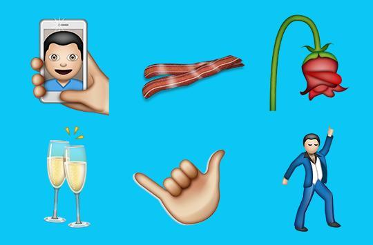 (L-R) Selfie, bacon, wilted flower, clinking glasses,  call me  hand, man dancing