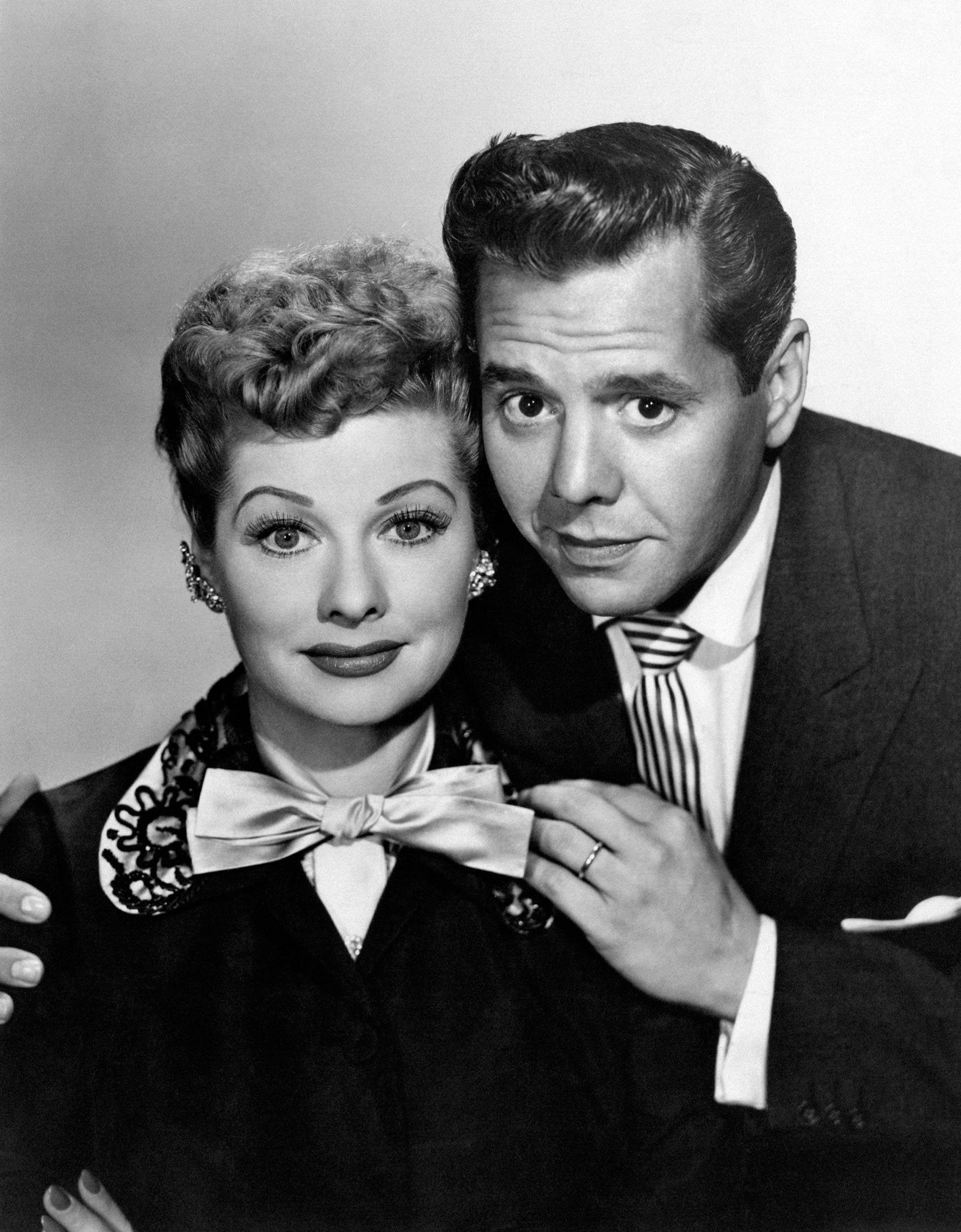 Lucille Ball and Desi Arnaz on the set of I Love Lucy