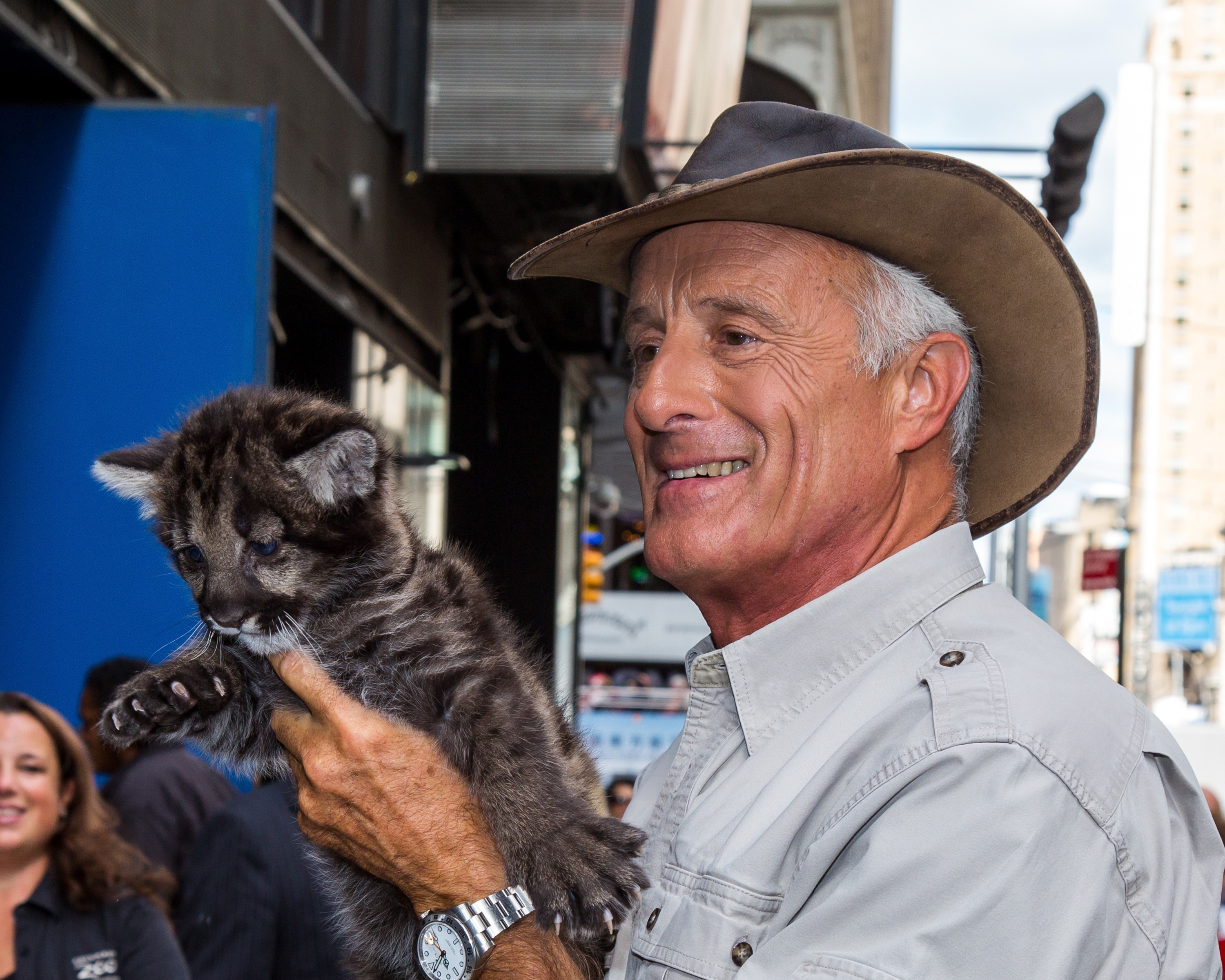 Jack Hanna is seen posing with black mountain lion cub at 'Good Morning America' on Sept. 22, 2014 in New York City.
