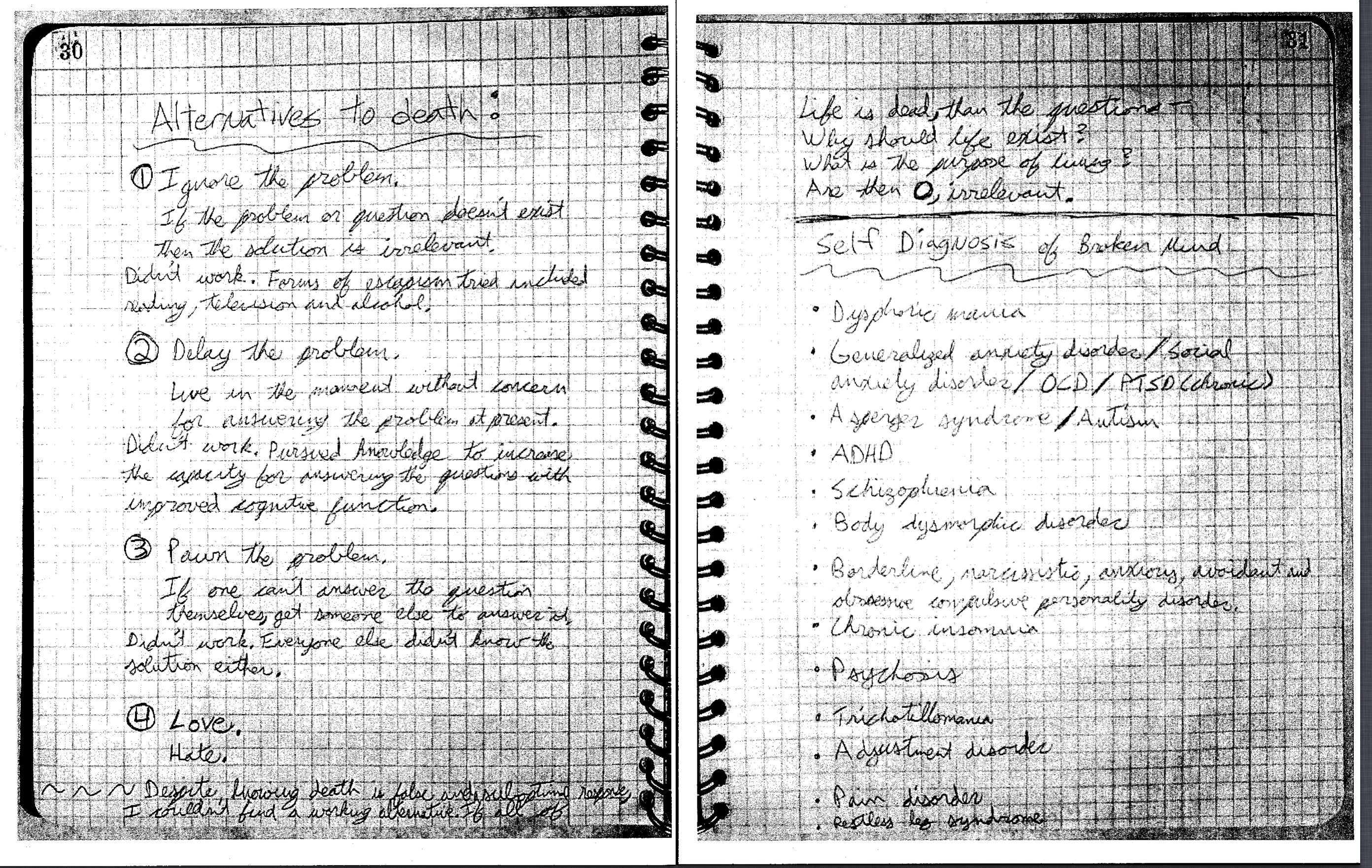 A portion of Aurora shooter James Holmes' notebook, after it was presented as evidence in the Holmes murder trial on May 26, 2015, in Centennial, Colo.