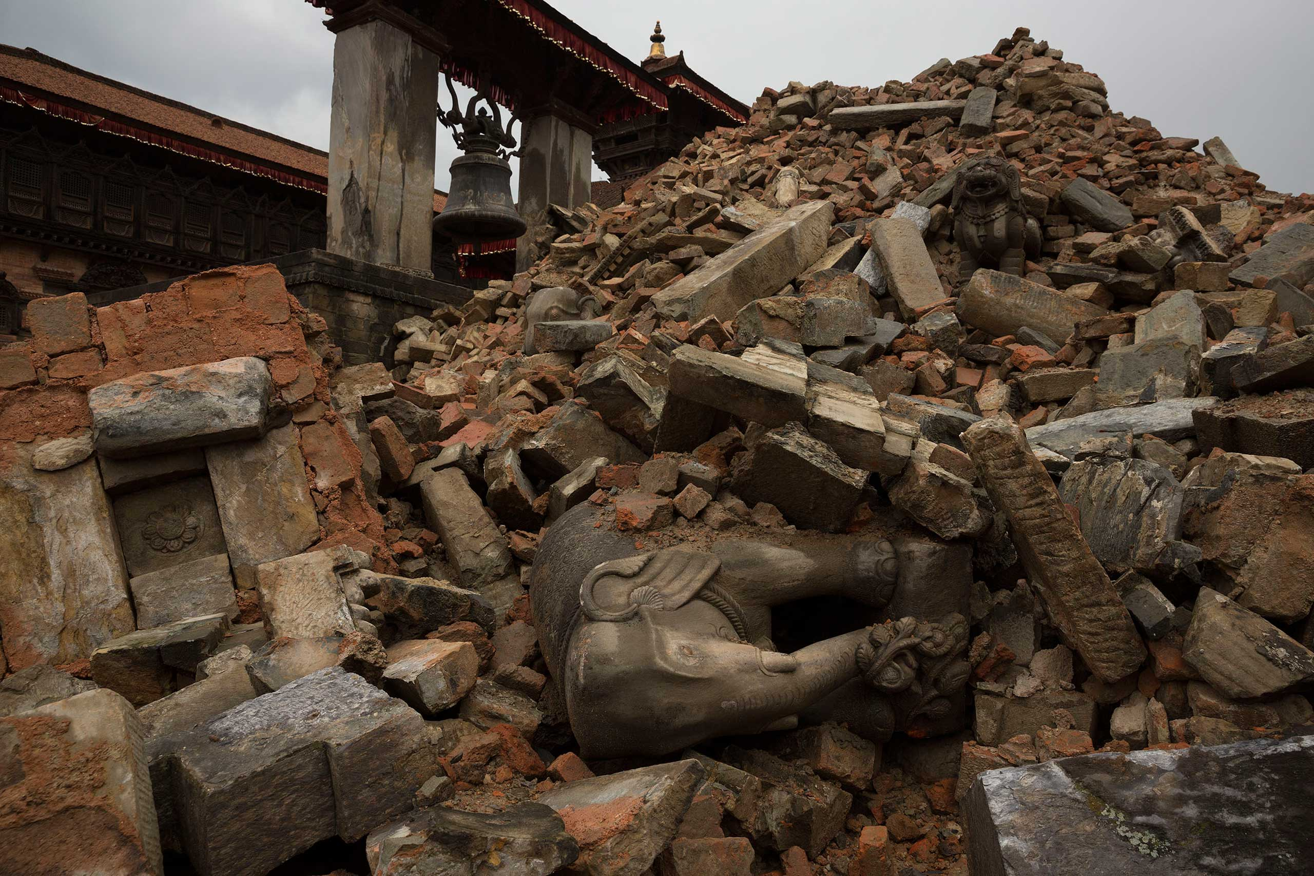 Nepal's 7.8 magnitude earthquake has caused massive destruction of historical temples and palaces like this ancient and sacred site in Bhaktapur, April 29, 2015.