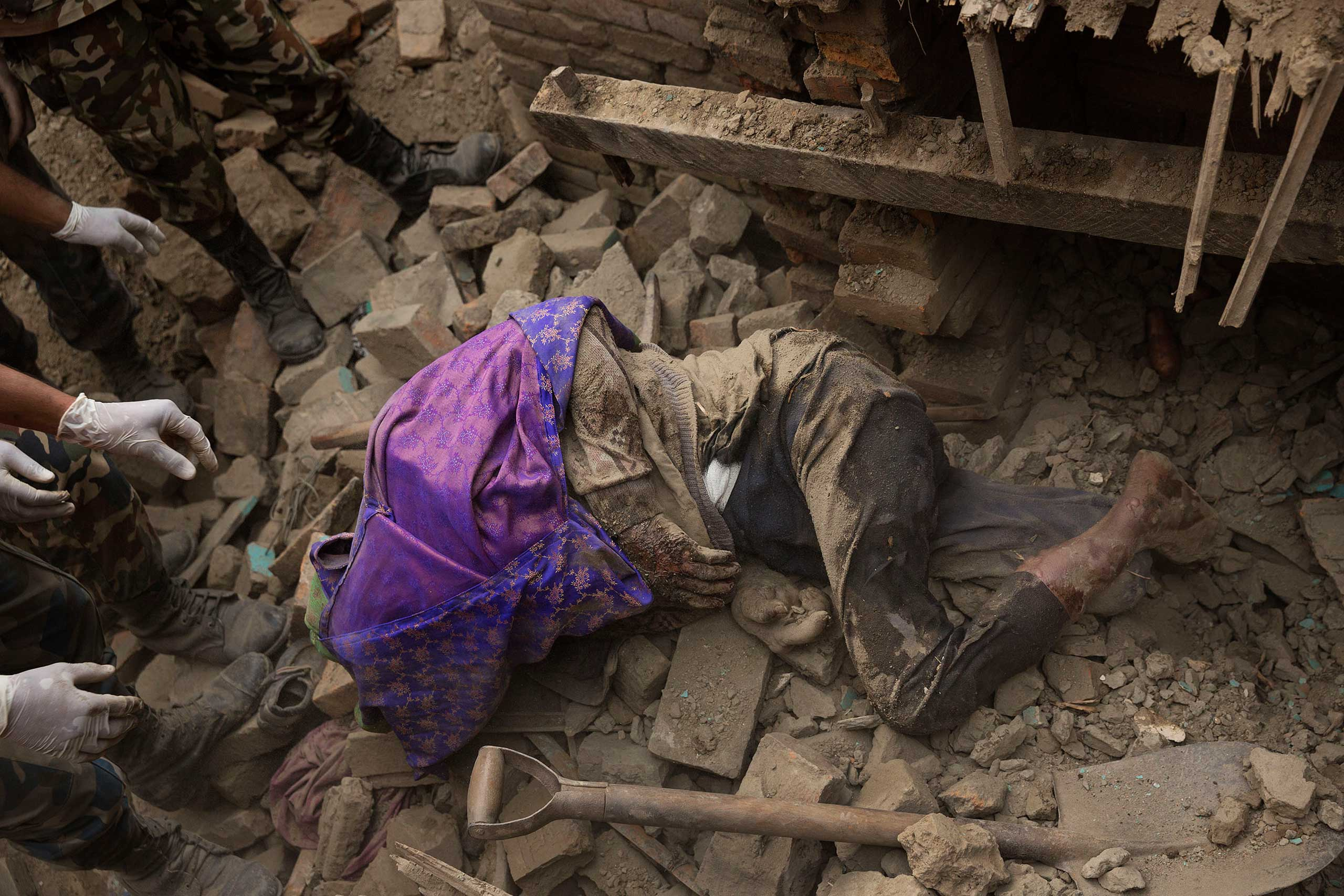 A body is found in the wreckage in Bhaktapur, April 29, 2015.