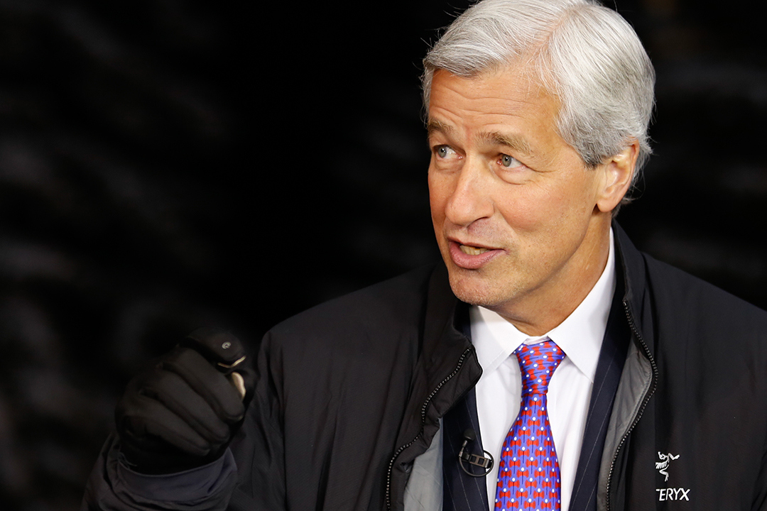 SQUAWK BOX -- Pictured: Jamie Dimon, chairman, president and CEO of JPMorgan Chase, in an interview at the World Economic Forum in Davos, Switzerland, on January 21, 2015 -- (Photo by: David A.Grogan/CNBC/NBCU Photo Bank via Getty Images)