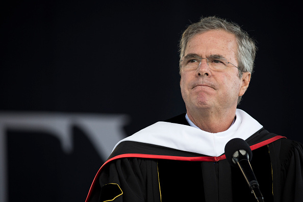 U.S. presidential hopeful and former Florida governor Jeb Bush delivers the commencement address at Liberty University, at Williams Stadium on the campus of Liberty University, May 9, 2015 in Lynchburg, Virginia.