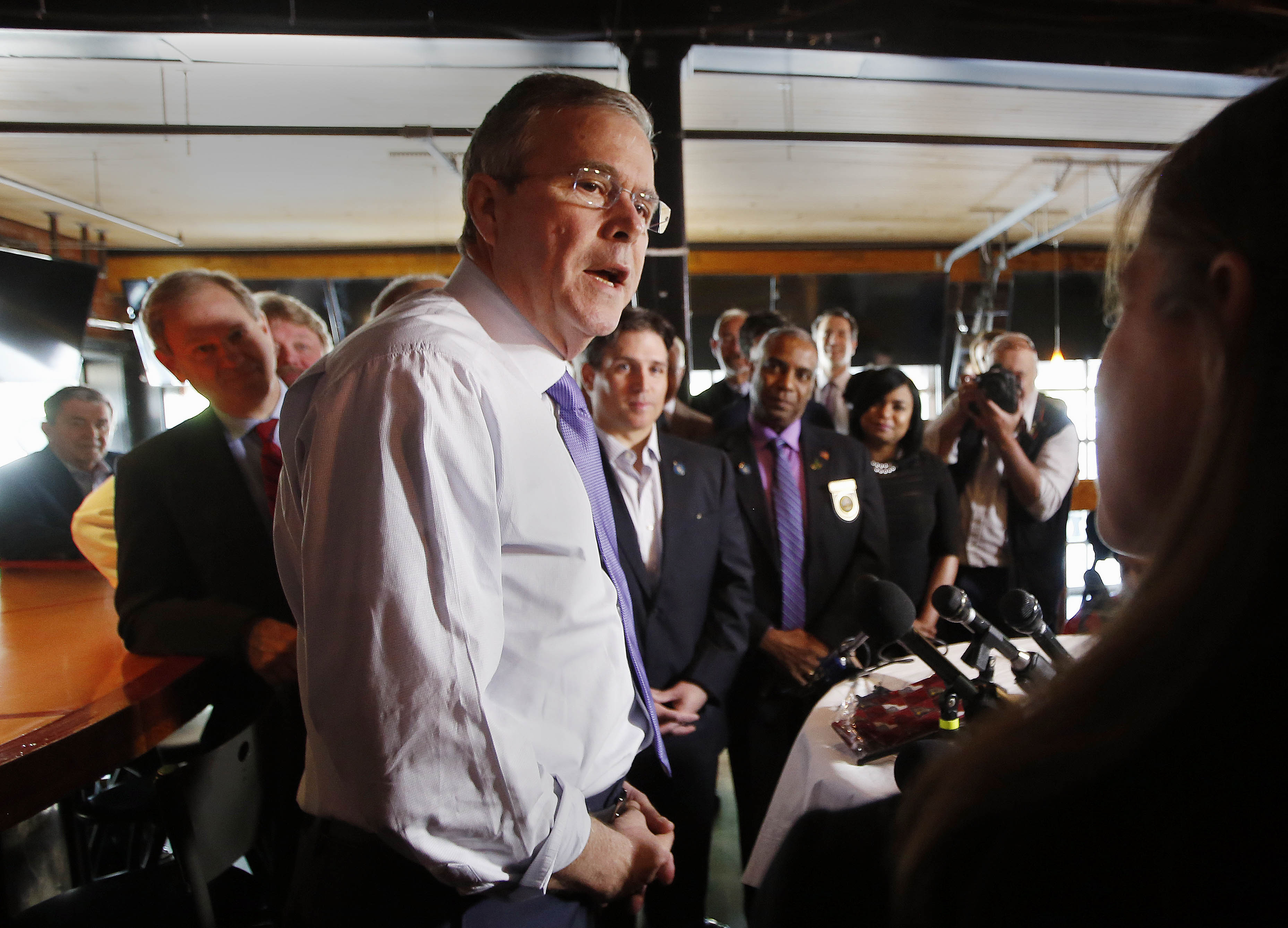Former Florida Gov. Jeb Bush speaks at the Draft restaurant, Thursday, May 21, 2015, in Concord, N.H.