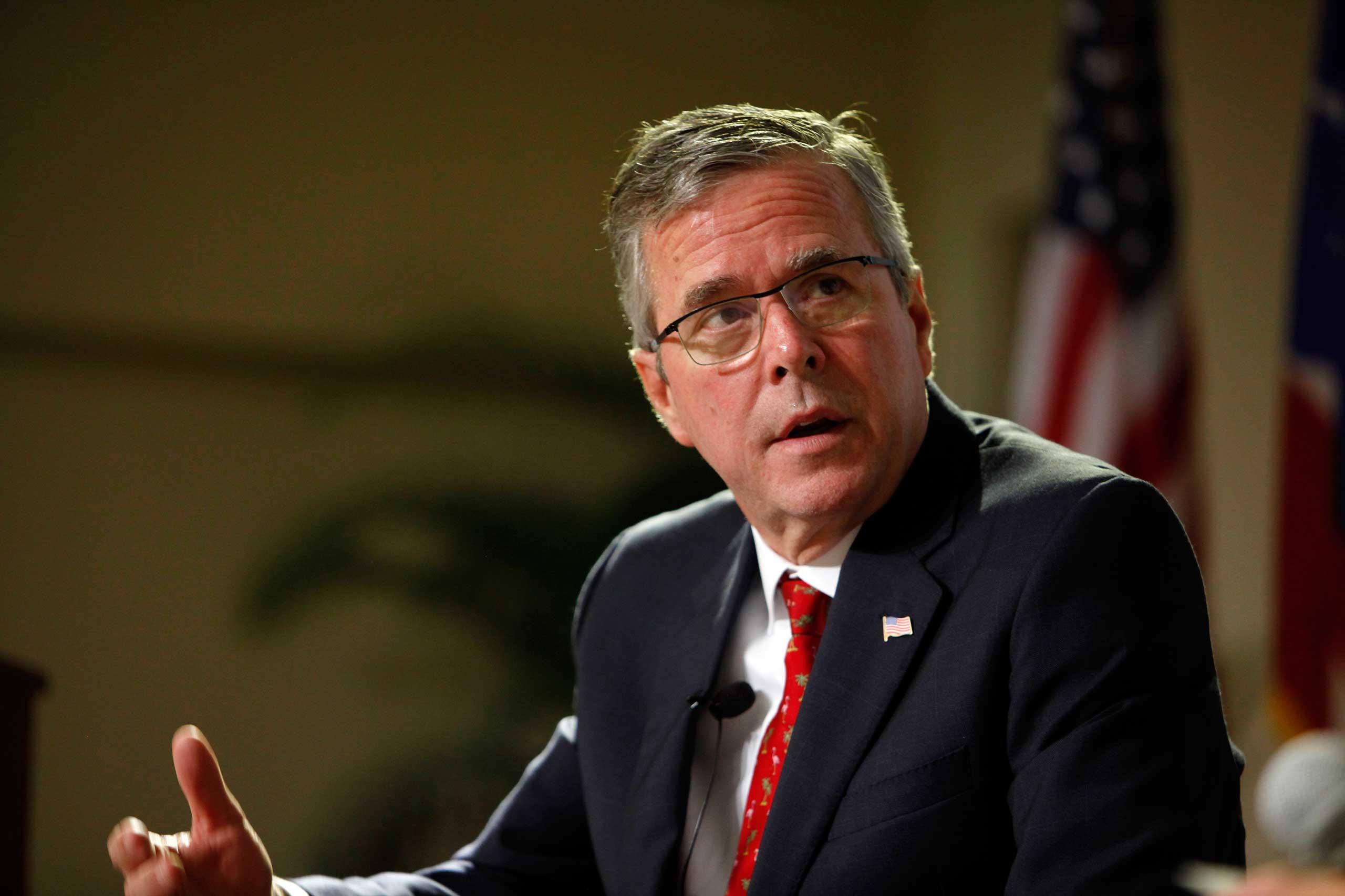 Former Florida Gov. Jeb Bush speaks during an event at the Metropolitan University in San Juan, Puerto Rico on April 28, 2015.