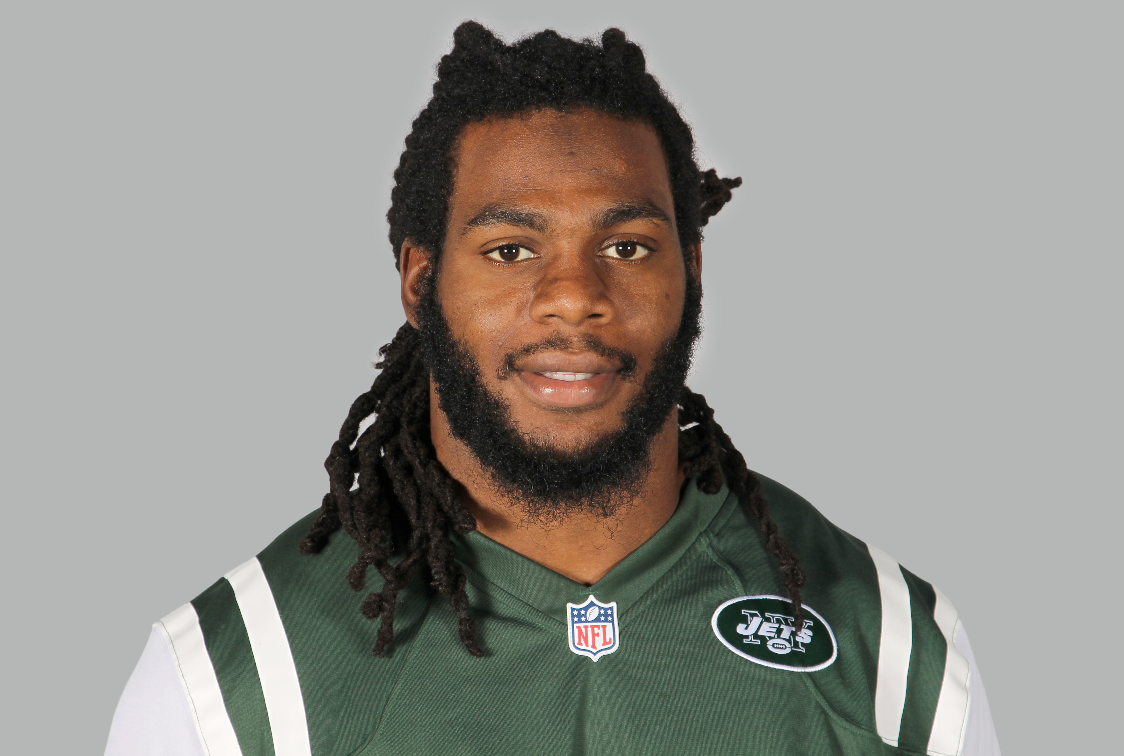 A June 16, 2014, file photo of New York Jets linebacker Jermaine Cunningham in Florham Park, N.J.