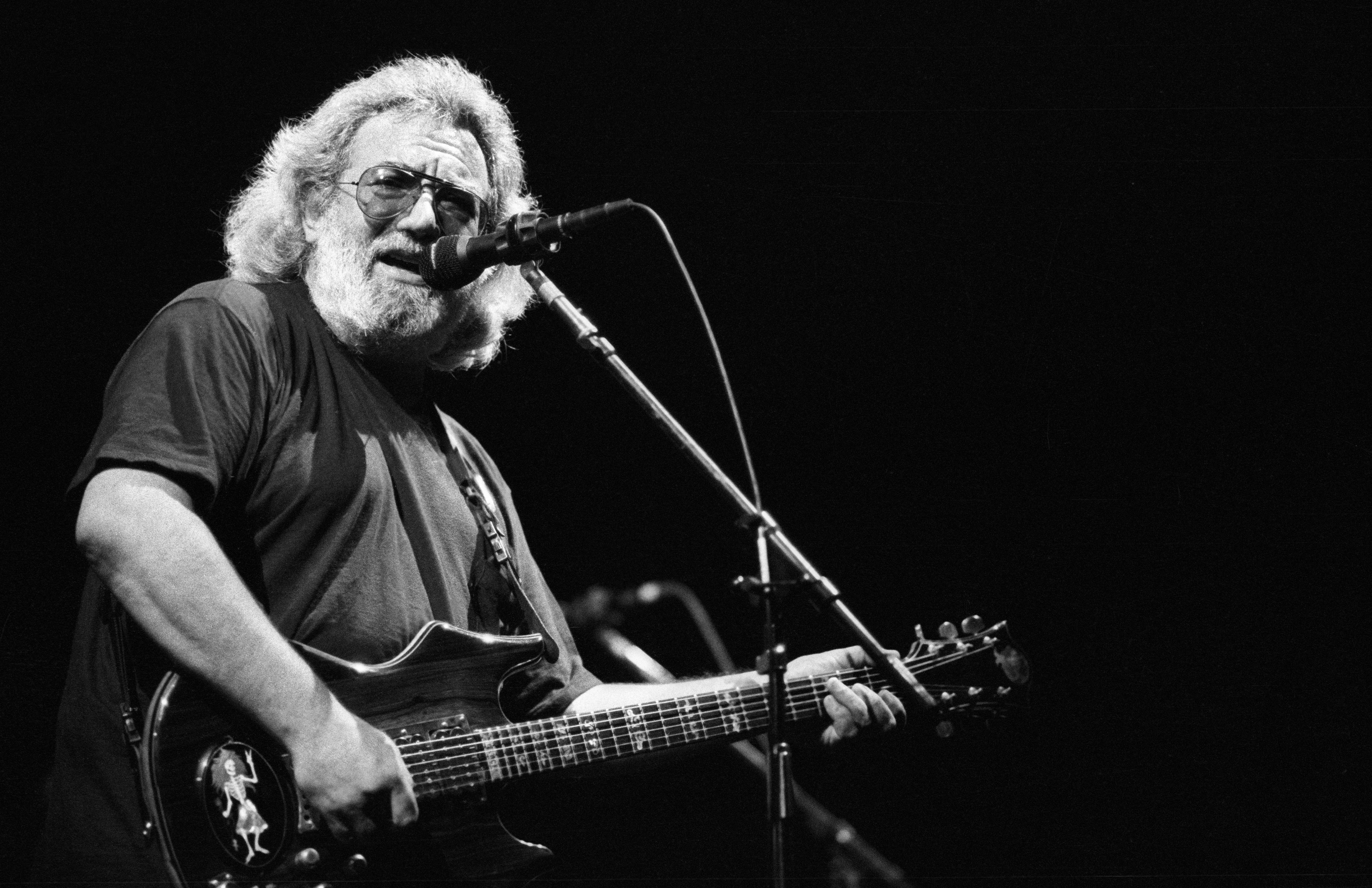 <strong>Not Fade Away</strong> Jerry Garcia of the Grateful Dead performs in concert circa 1987.