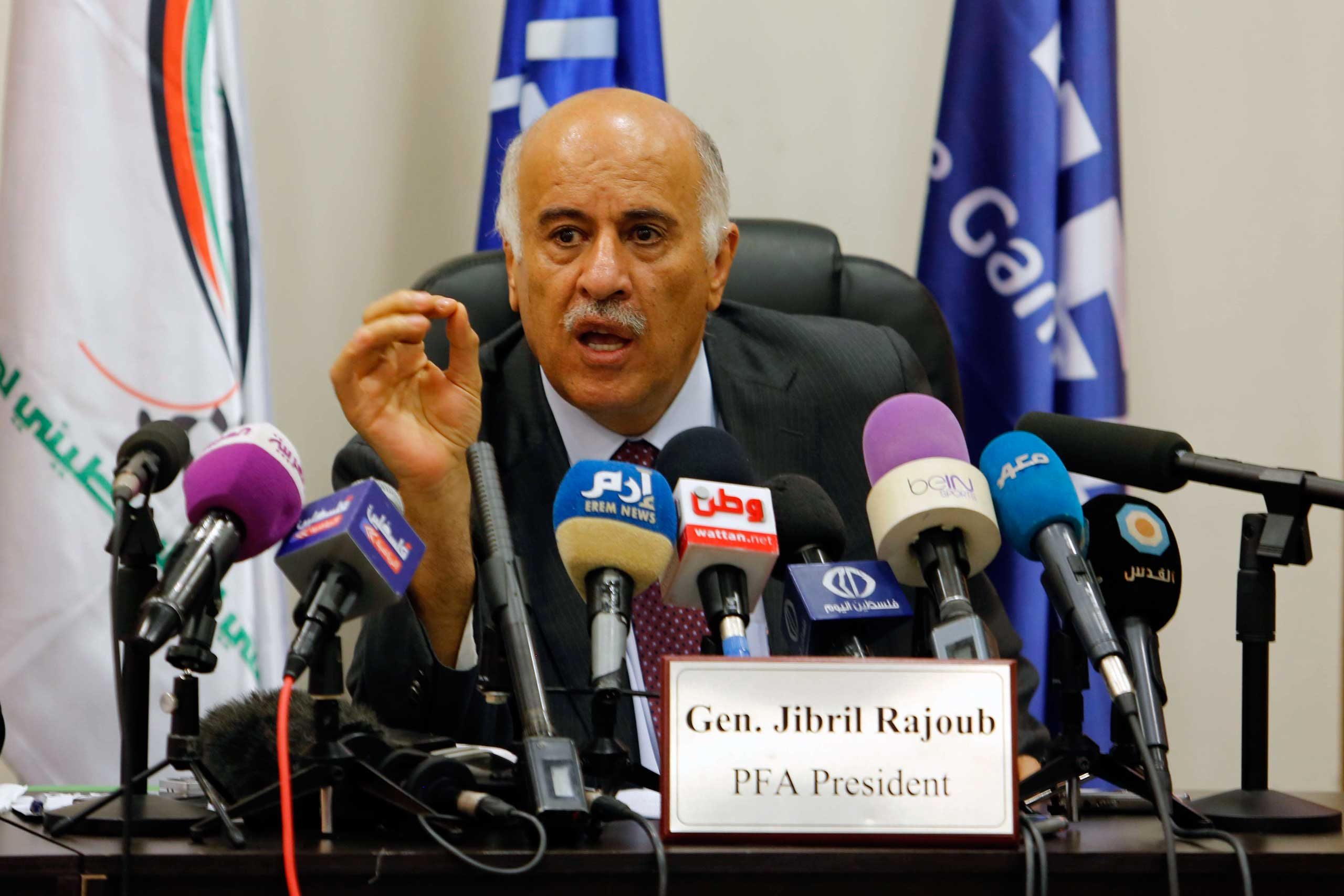 Head of Palestinian football Association Jibril Rajoub speaks during a press conference in Ramallah in the West Bank on May 25, 2015.