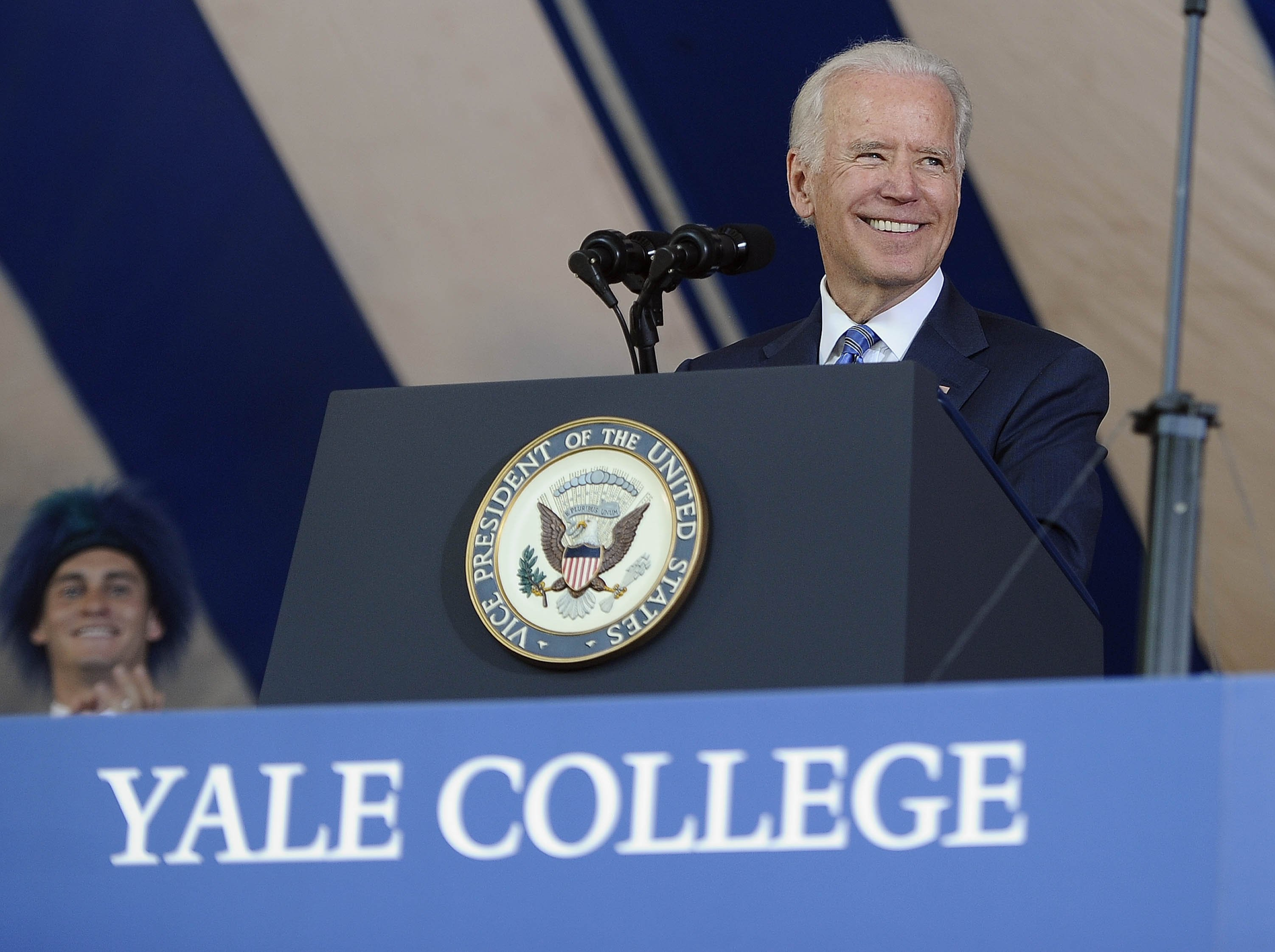 Vice President Joe Biden delivers the Class Day Address at Yale University on May 17, 2015, in New Haven, Conn.