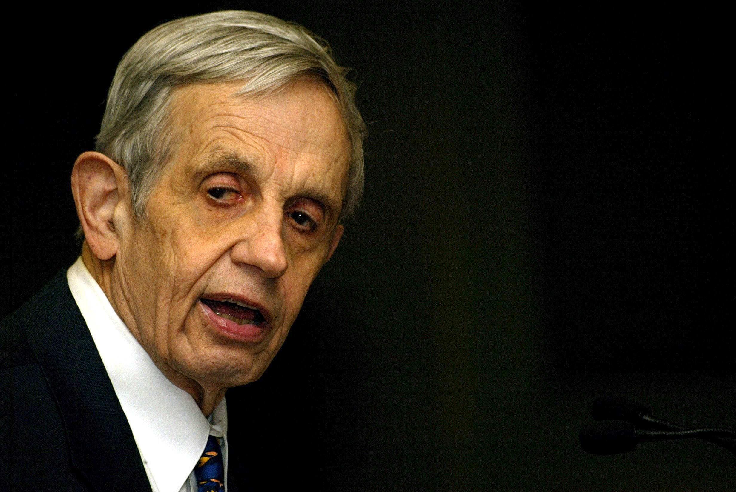 A file picture dated February 14, 2007 of Noble Laureate John Nash speaking on 'Global Games and Globalization' during a function in New Delhi.