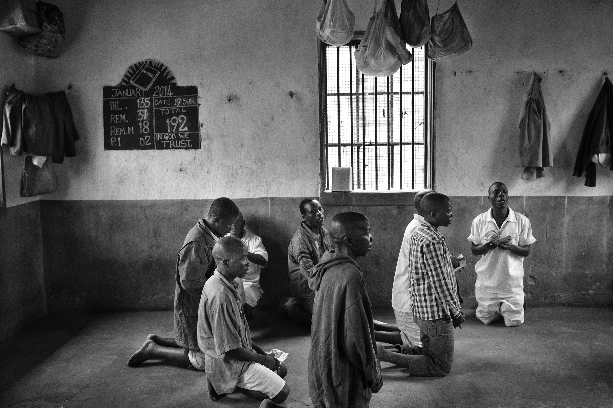 Priests come to the prison to hold church services on Sundays.