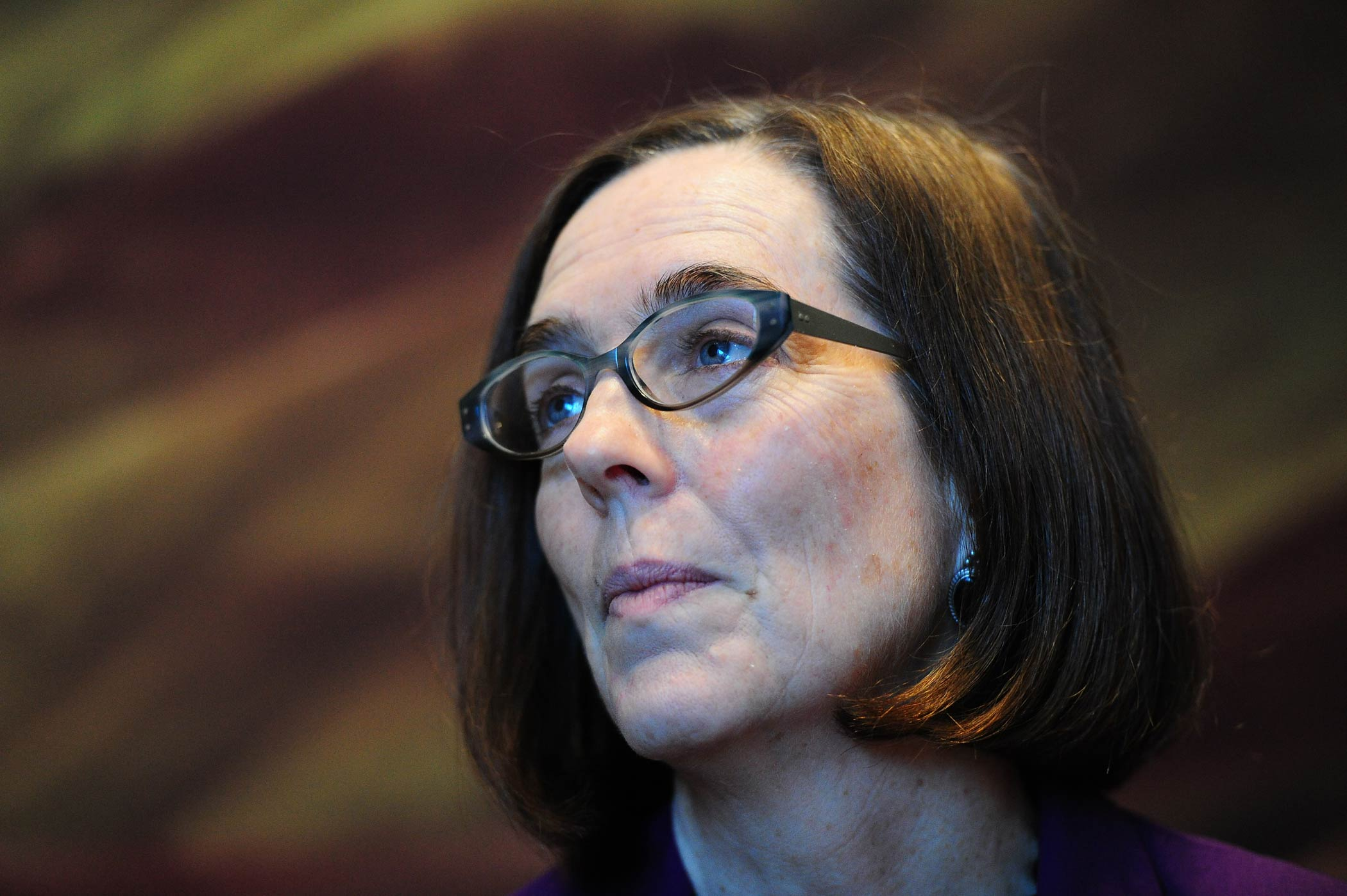 Then Secretary of State Kate Brown, who is currently Governor, attends a Statehood Day celebration at the Oregon Historical Society, in Portland, Ore., on Feb. 14, 2015.