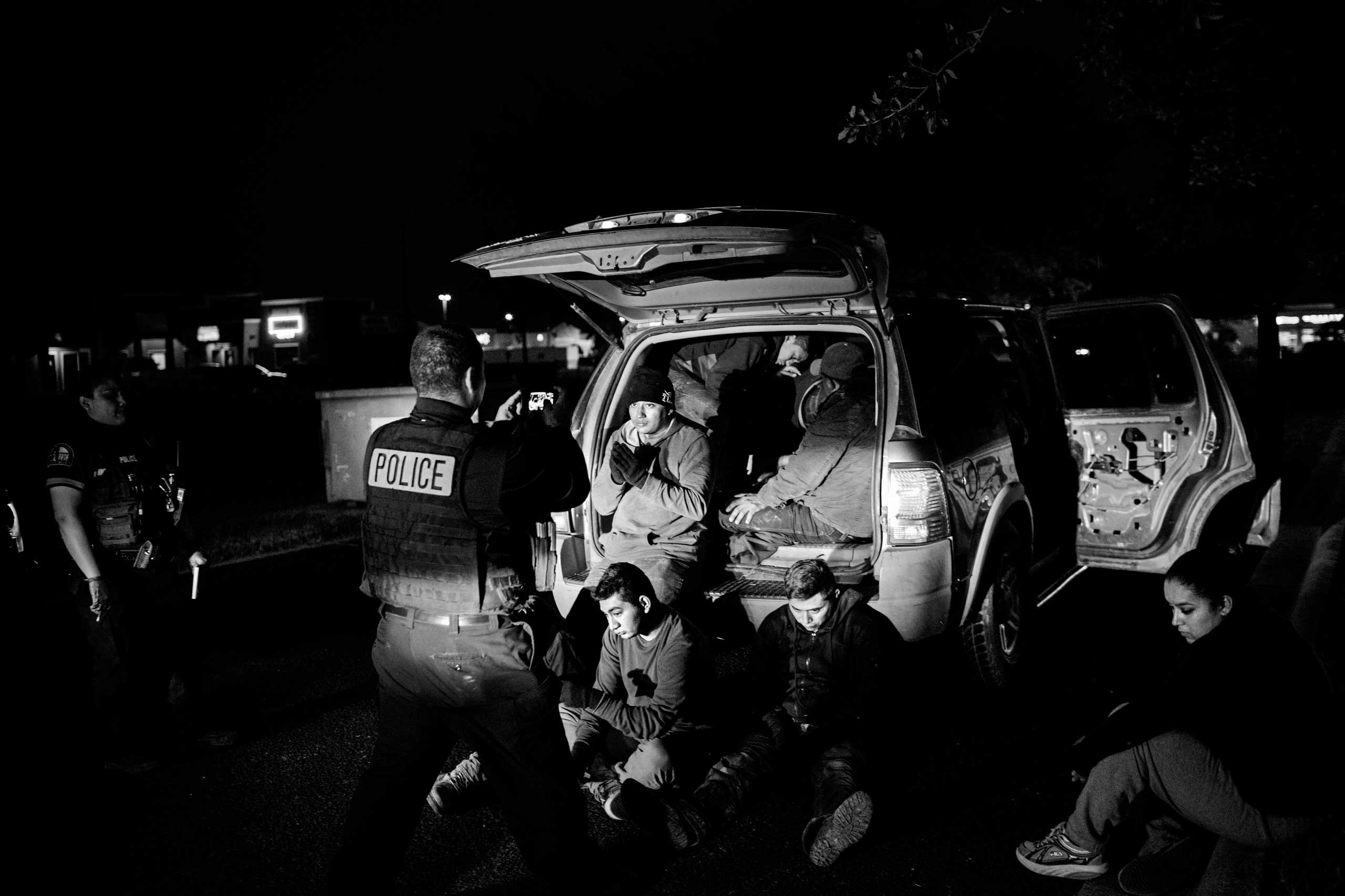 The New Yorker Photo Booth: Taken at the BorderA vehicle transporting 12 undocumented migrants is pulled over in La Joya near MCallen, Texas on the US-Mexico border.
