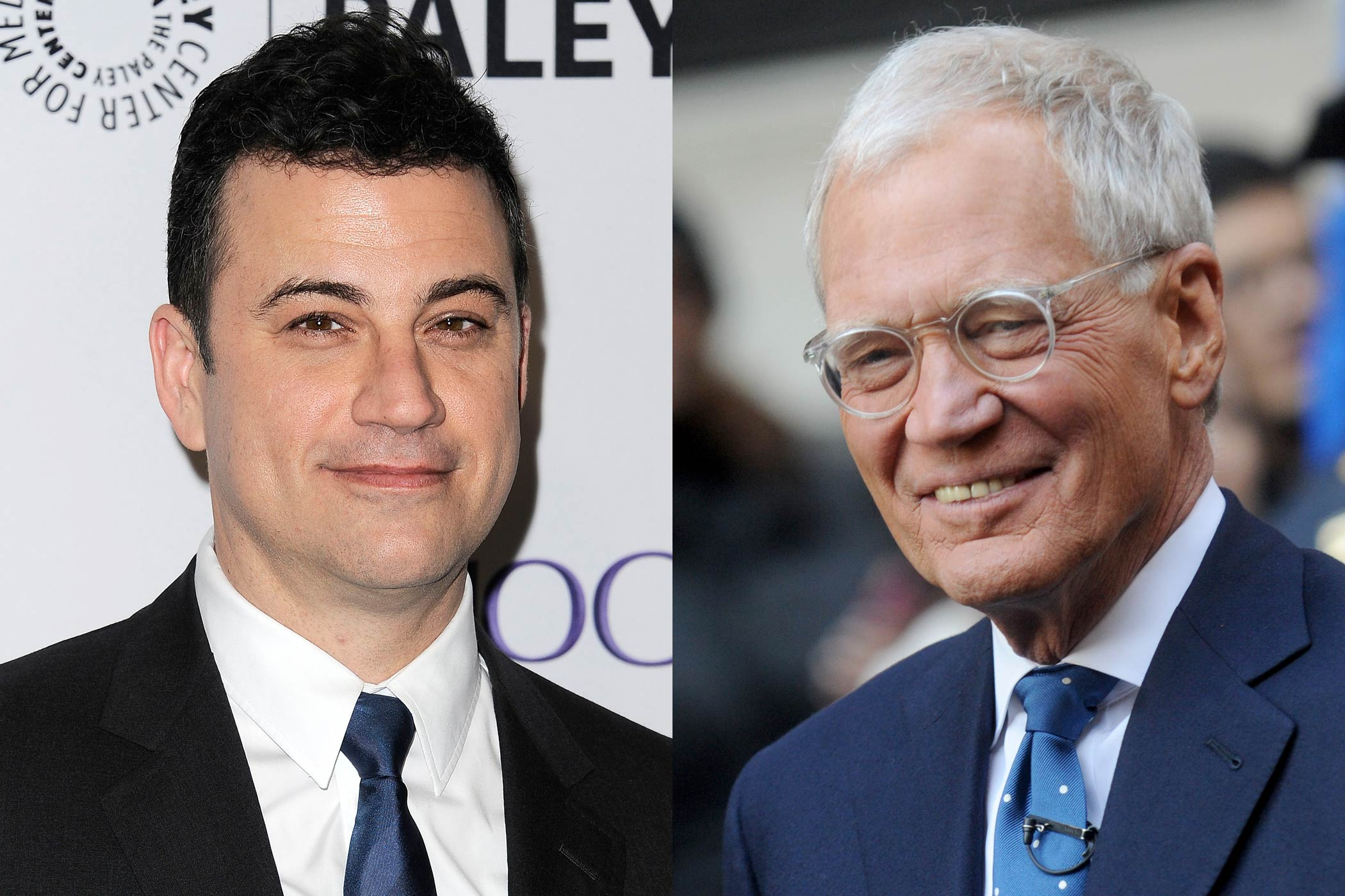 From left: Jimmy Kimmel and David Letterman