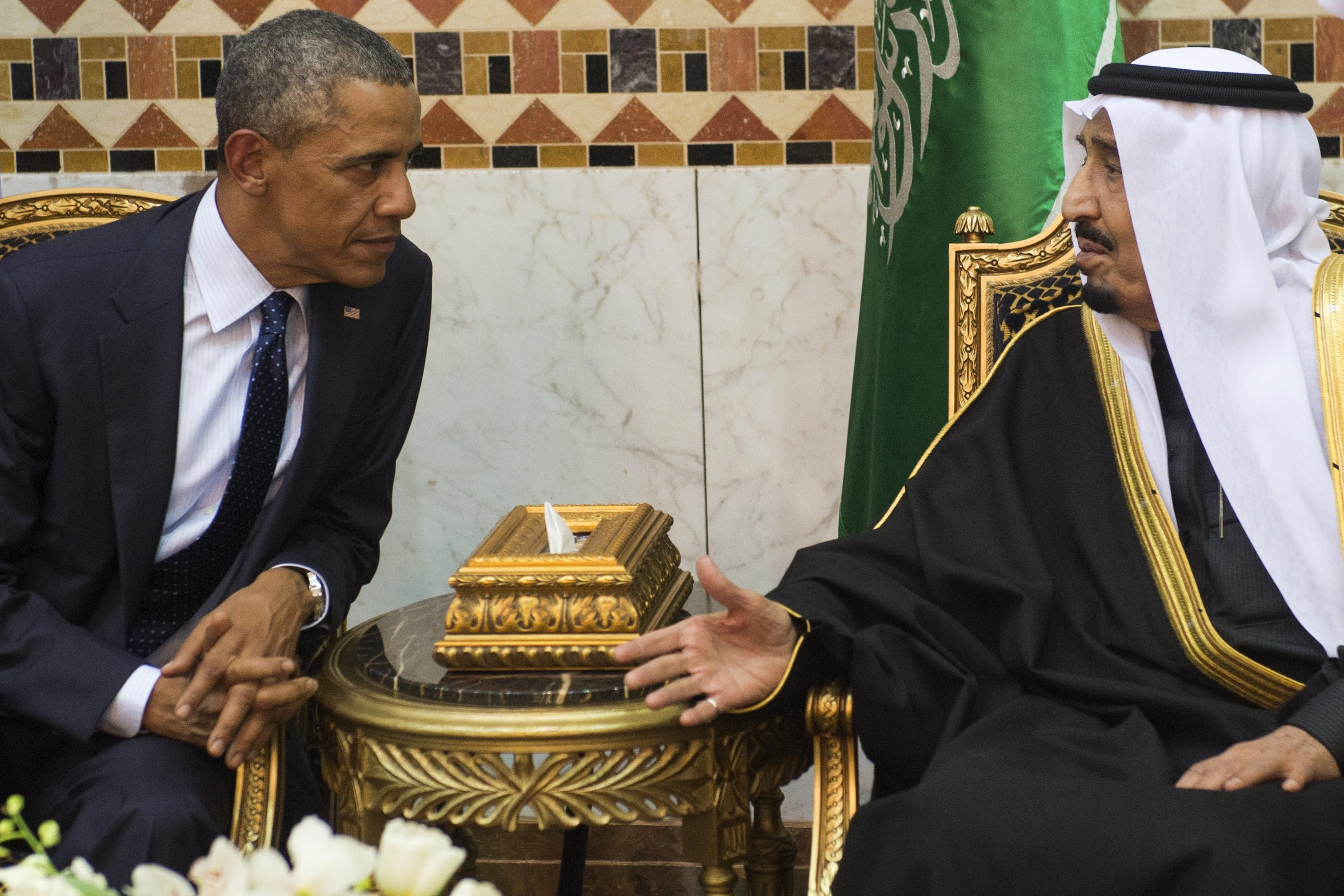 Saudi King Salman meets with President Barack Obama at the Erga Palace in the capital Riyadh on January 27, 2015.