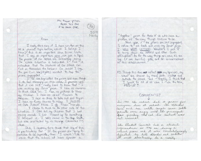 Anna's high school U.S. History journal assignment, with teacher's grade and comments, Montgomery County High School, Mount Vernon, Georgia, 1999