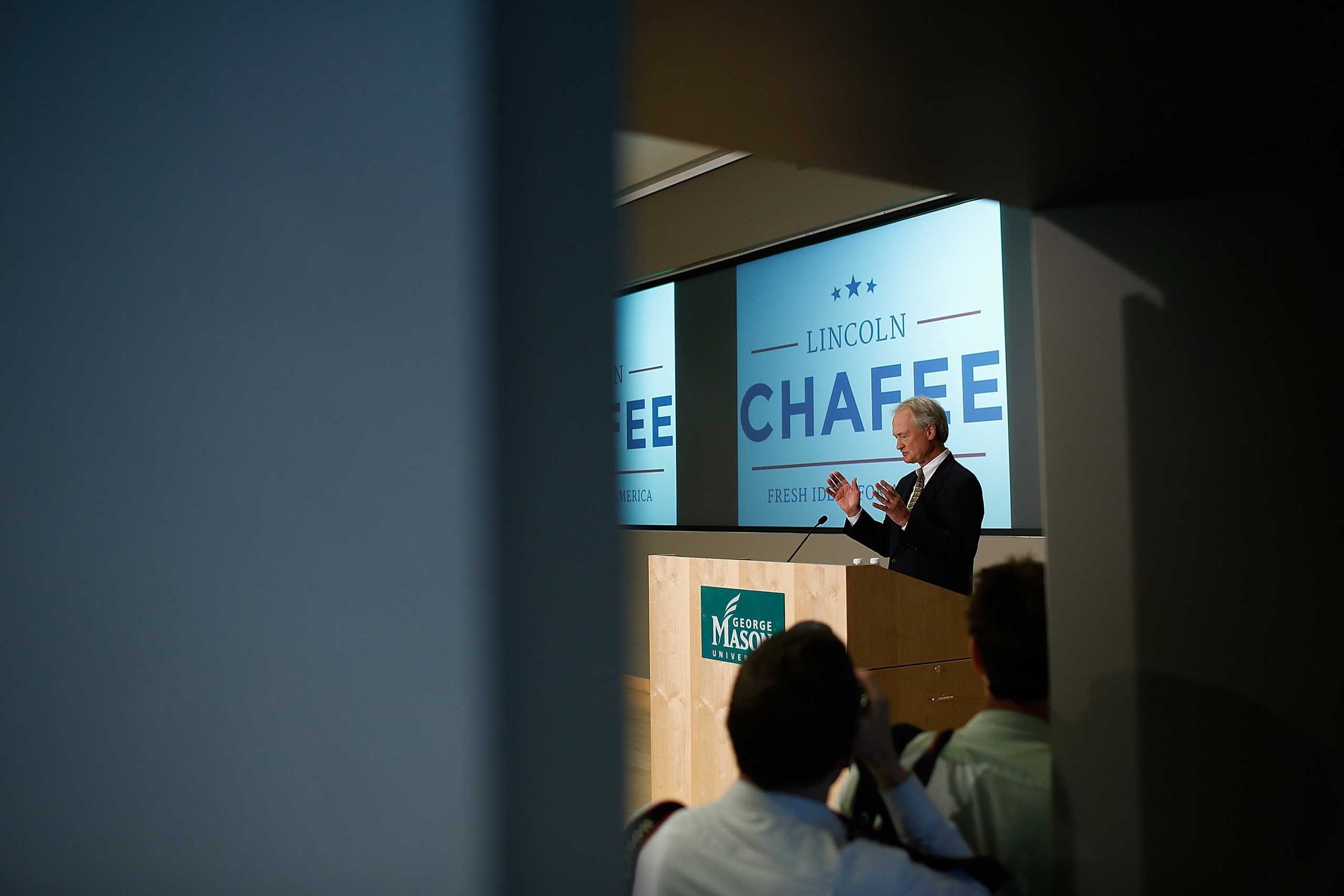Former Rhode Island Sen. Lincoln Chafee announces his candidacy for the democratic presidential nomination at George Mason University in Arlington, Va. on June 3, 2015.