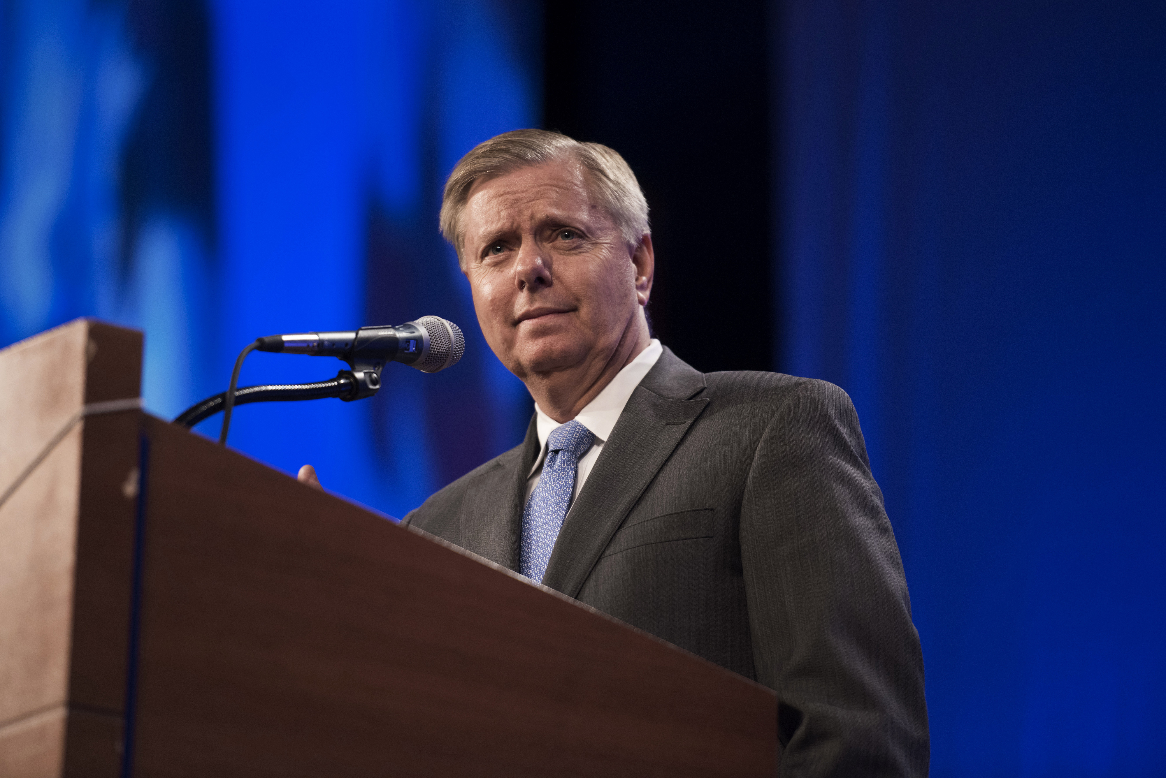 Senator Lindsey Graham, a Republican from South Carolina, speaks during the Republican Party of Iowa's Lincoln Dinner in Des Moines, Iowa