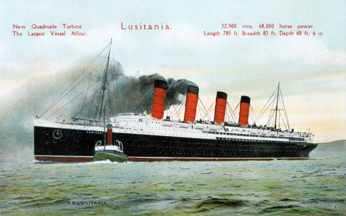 An illustration of the ocean liner RMS 'Lusitania'