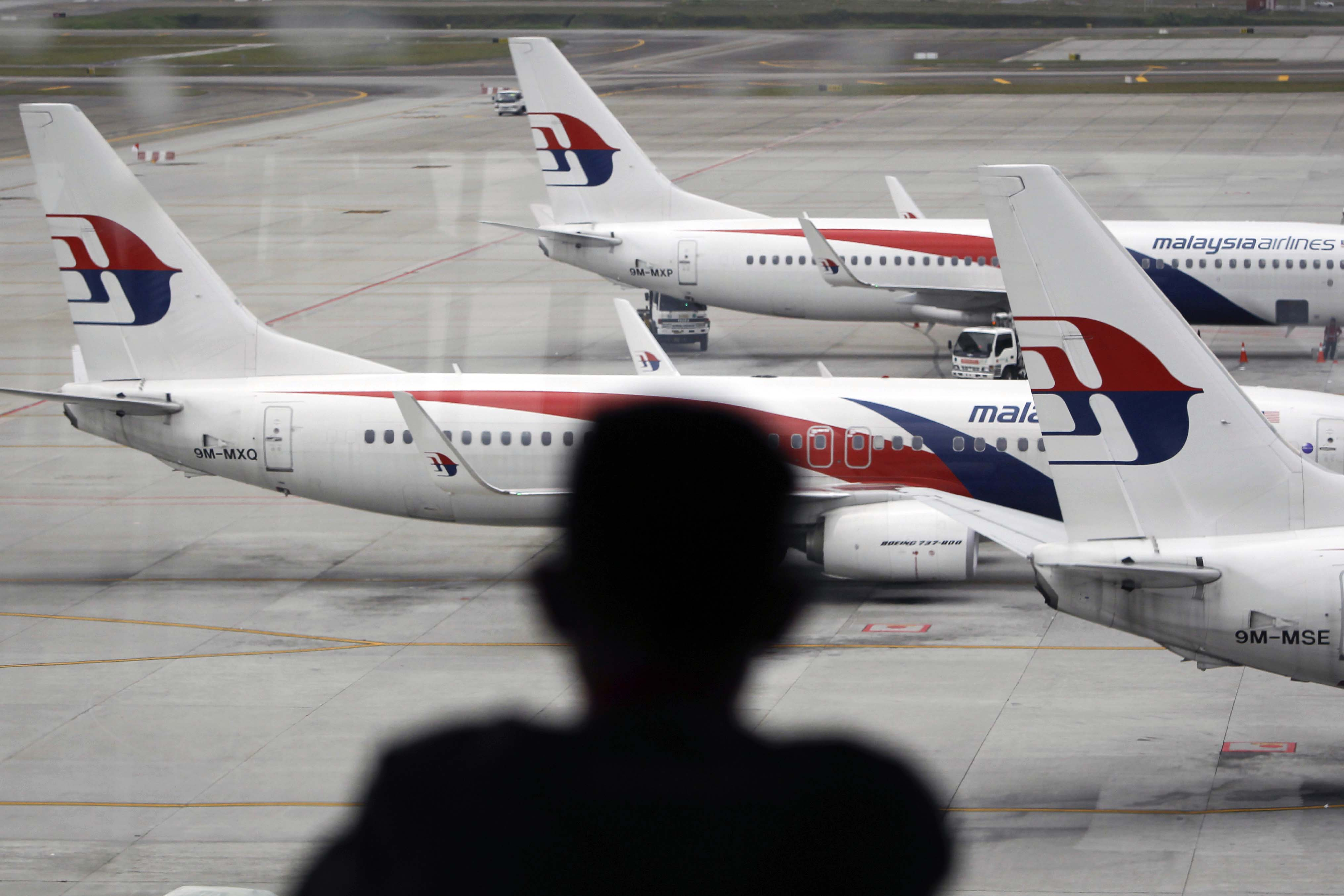 A man views a fleet of Malaysia Airline planes on the tarmac of the Kuala Lumpur International Airport, in Malaysia, Thursday, Jan. 29,  2015.