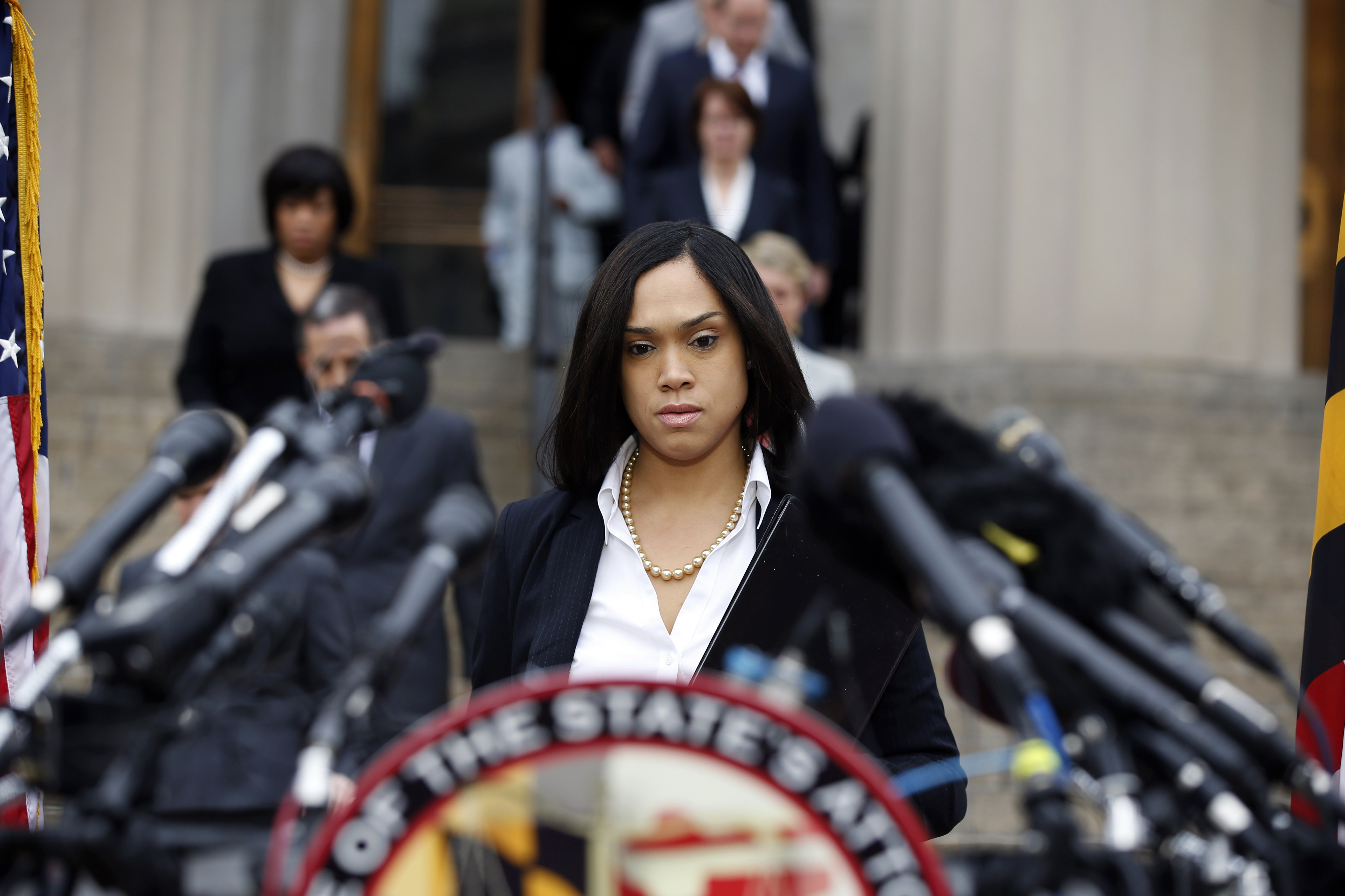 Marilyn Mosby, Baltimore state's attorney, approaches the podium for a media availability on  May 1, 2015 in Baltimore.