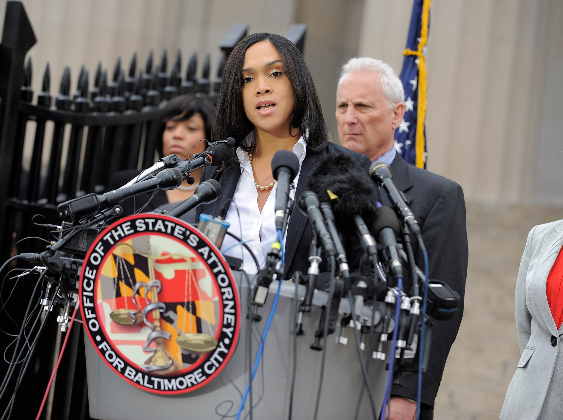 Baltimore State Attorney Marilyn Mosby answers questions at a press conference outside the War Memorial Building on May 1, 2015, talking about the arrests of police officers involved in the death of Freddie Gray in Baltimore, Md.