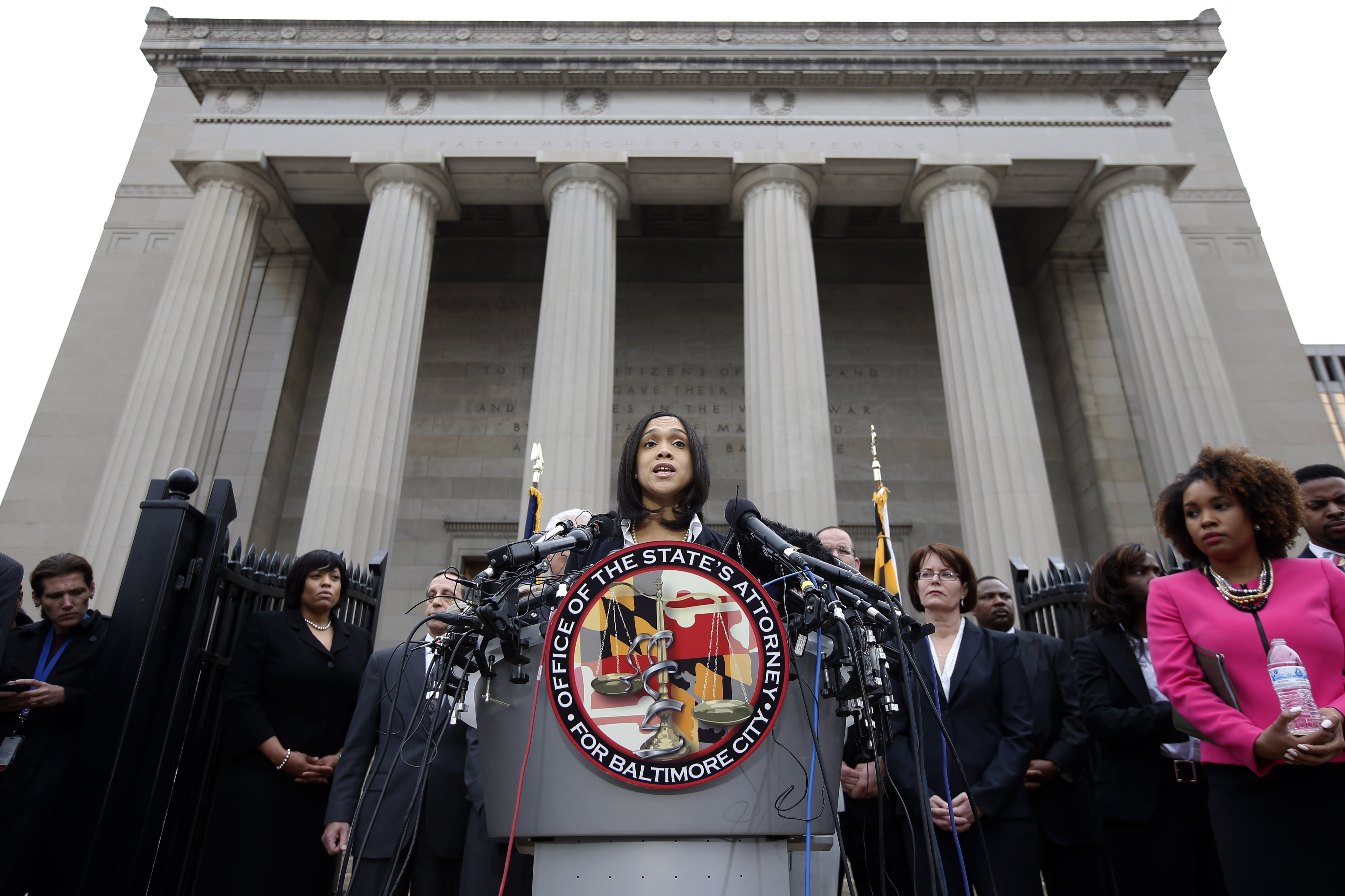 Marilyn Mosby, Baltimore state's attorney, speaks during a media availability in Baltimore on May 1, 2015.