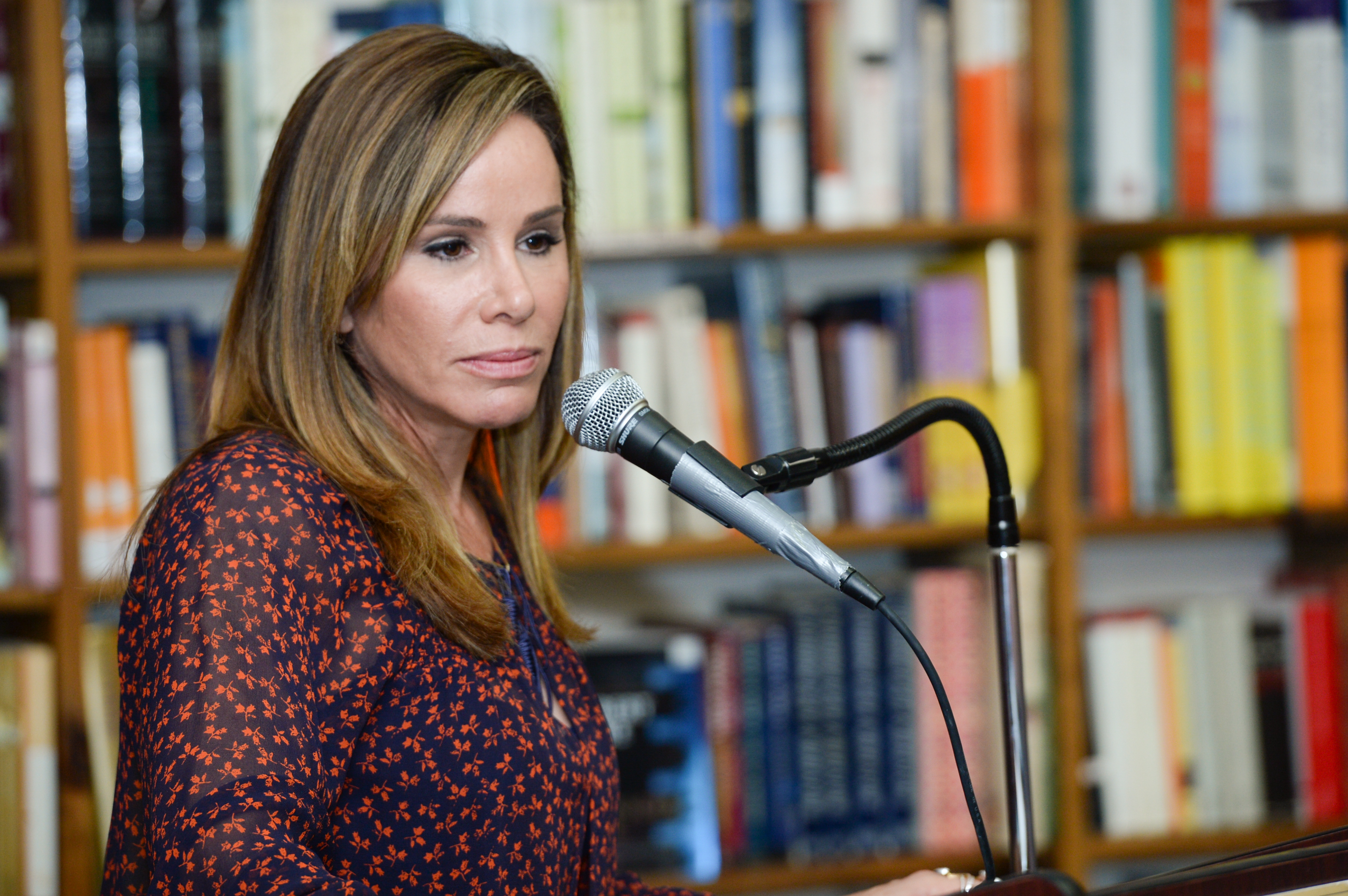 Television personality Melissa Rivers speaks at a book signing for her new book  The Book of Joan: Tales of Mirth, Mischief, and Manipulation  at Book Revue on May 11, 2015, in Huntington, N.Y.