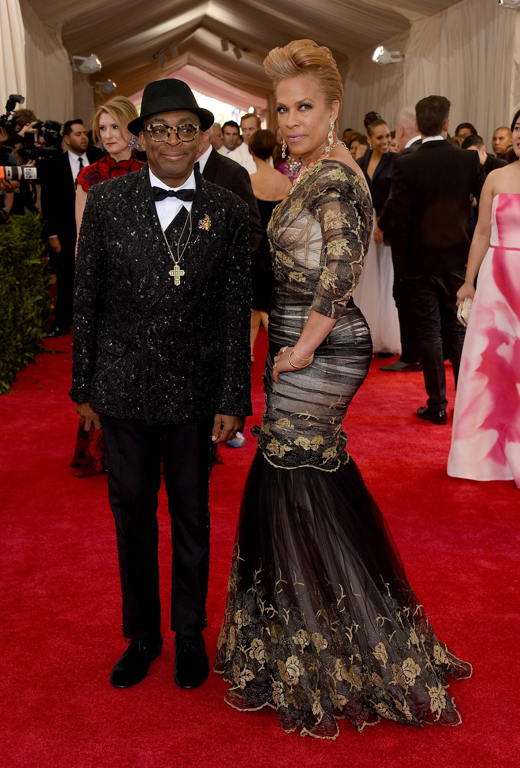 "Spike Lee and Tonya Lewis Lee attend the ""China: Through The Looking Glass"" Costume Institute Benefit Gala at the Metropolitan Museum of Art on May 4, 2015 in New York."