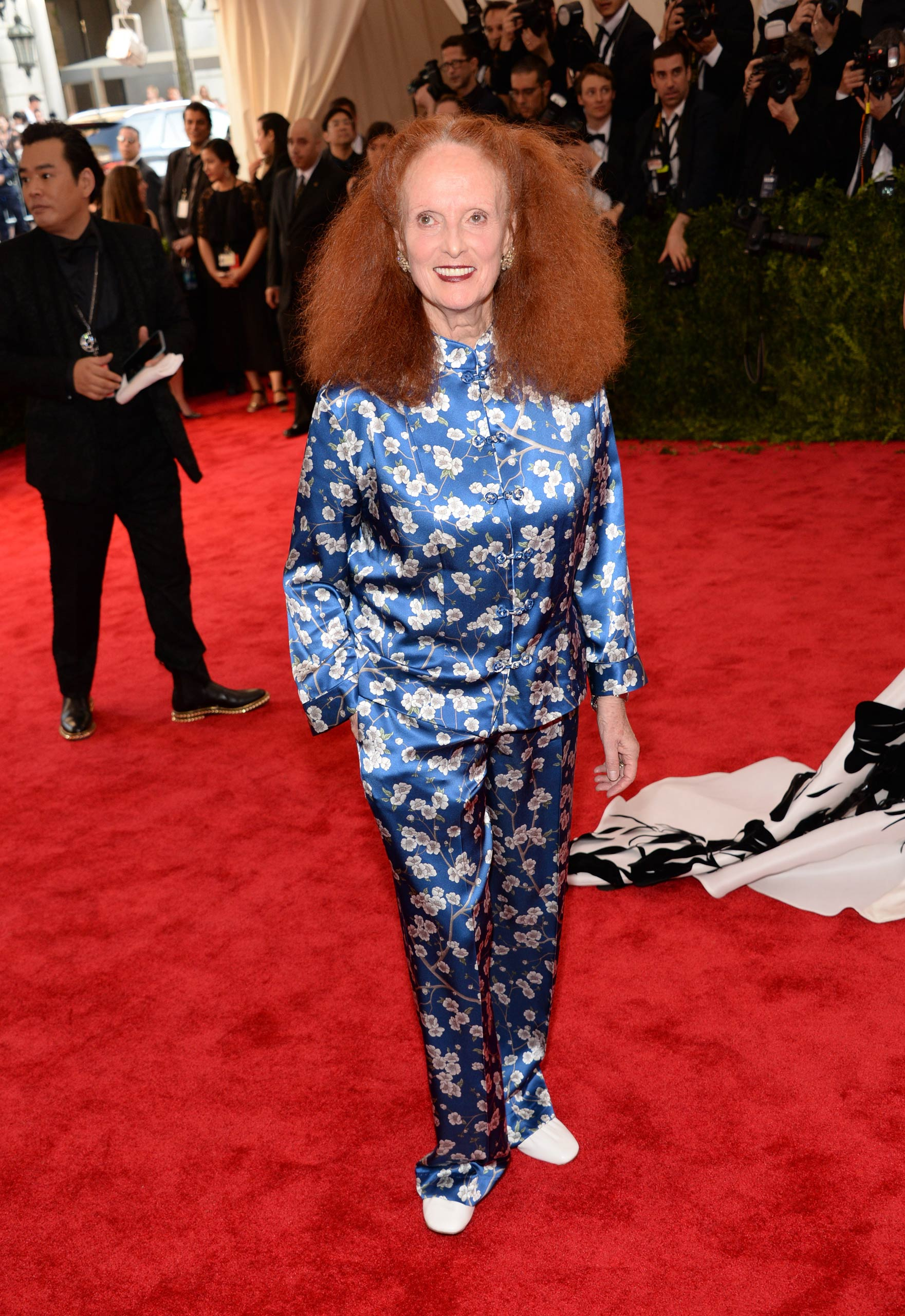 "Grace Coddington attends the ""China: Through The Looking Glass"" Costume Institute Benefit Gala at the Metropolitan Museum of Art on May 4, 2015 in New York."