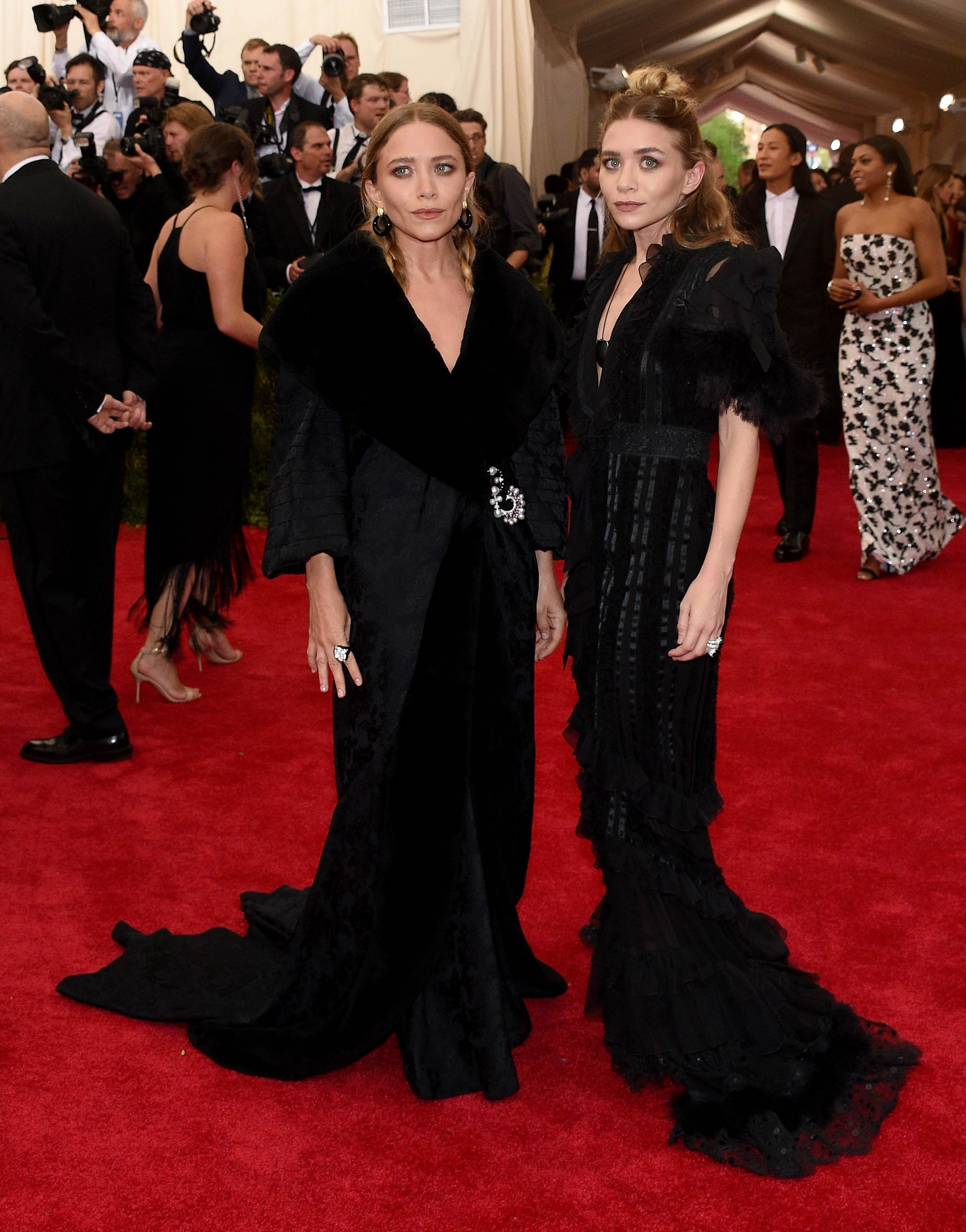 "Mary Kate and Ashley Olsen attend the ""China: Through The Looking Glass"" Costume Institute Benefit Gala at the Metropolitan Museum of Art on May 4, 2015 in New York."