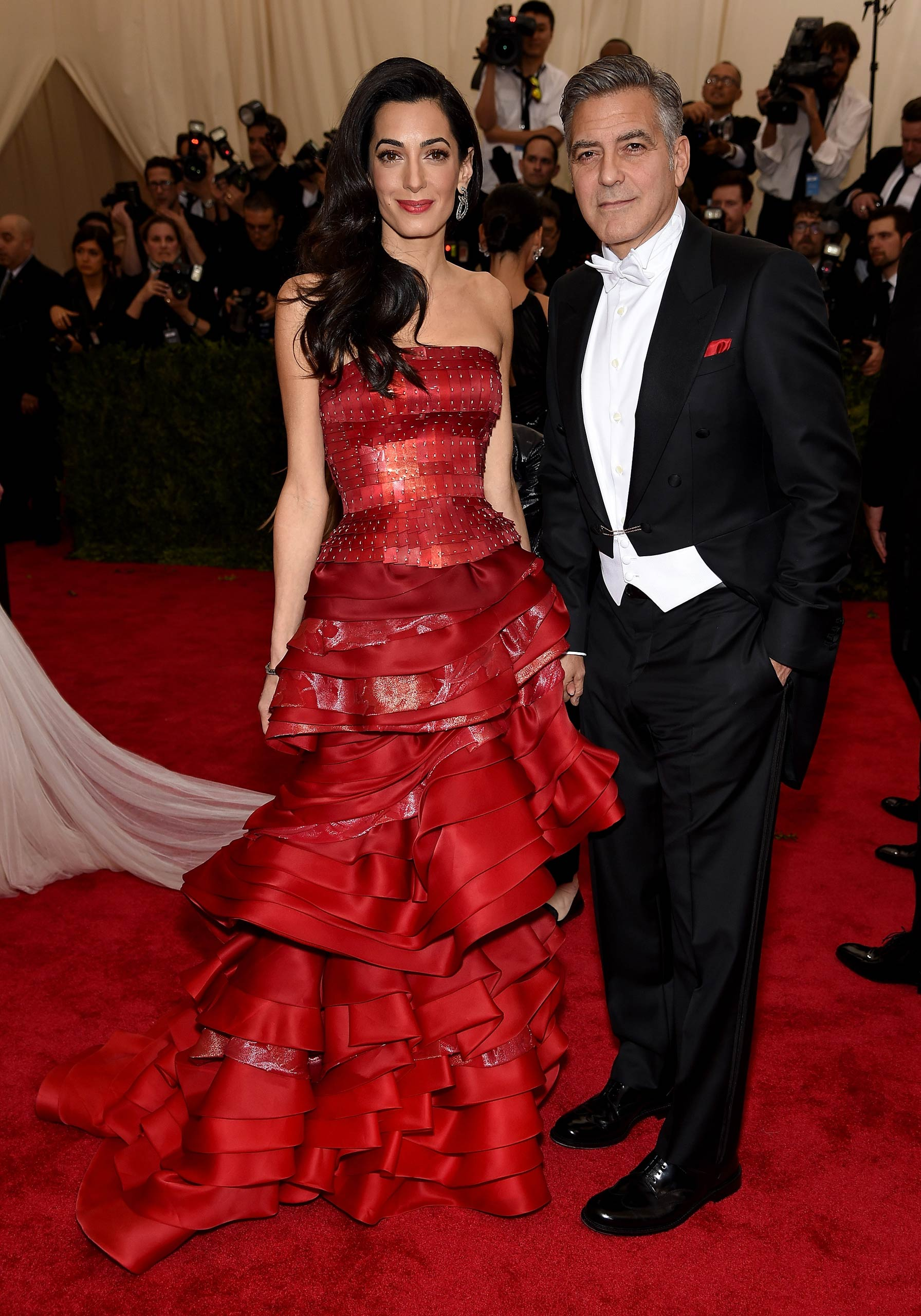 "Amal Clooney and George Clooney attend the ""China: Through The Looking Glass"" Costume Institute Benefit Gala at the Metropolitan Museum of Art on May 4, 2015 in New York."