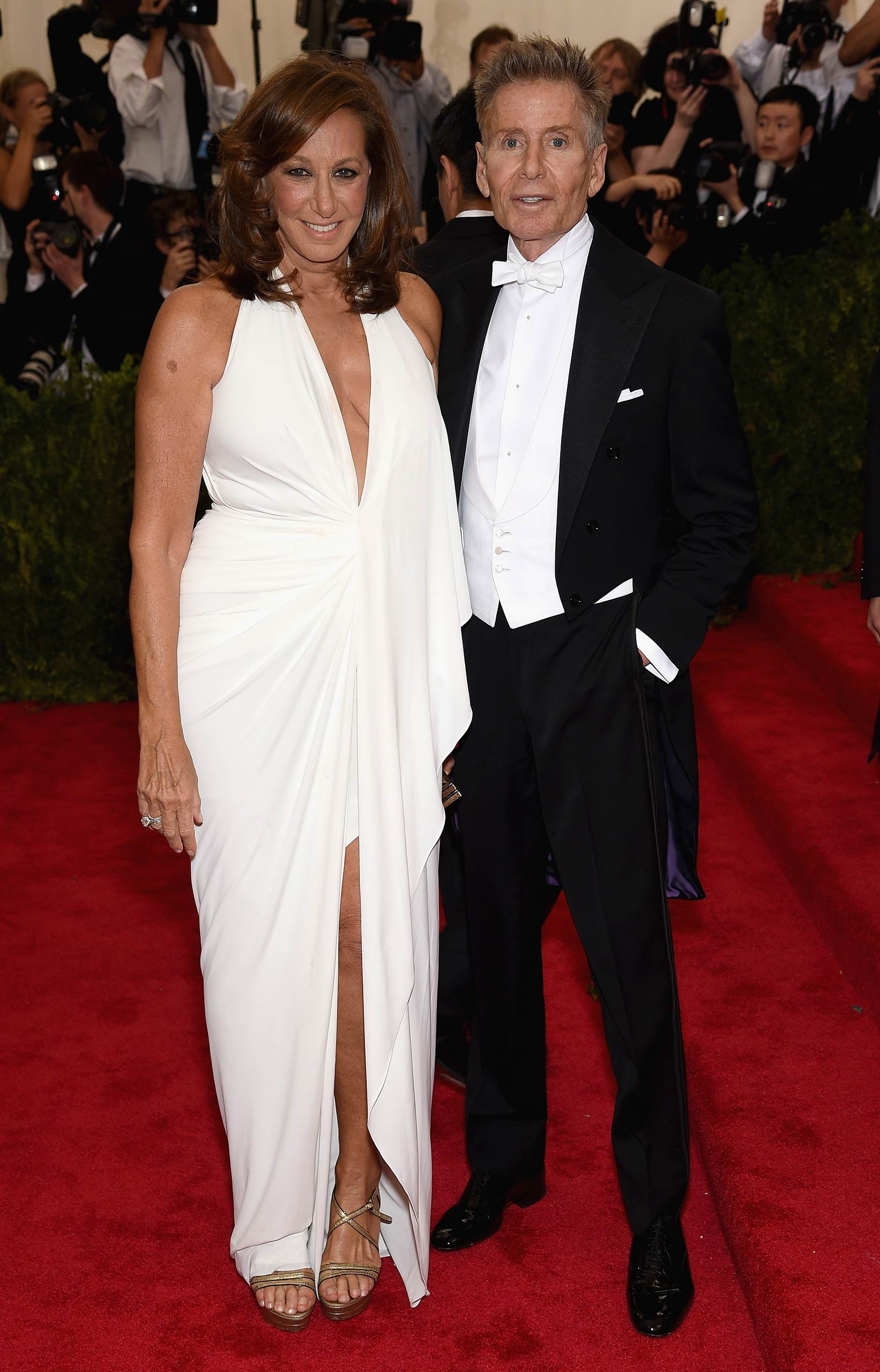 "Donna Karan and Calvin Klein attend the ""China: Through The Looking Glass"" Costume Institute Benefit Gala at the Metropolitan Museum of Art on May 4, 2015 in New York."