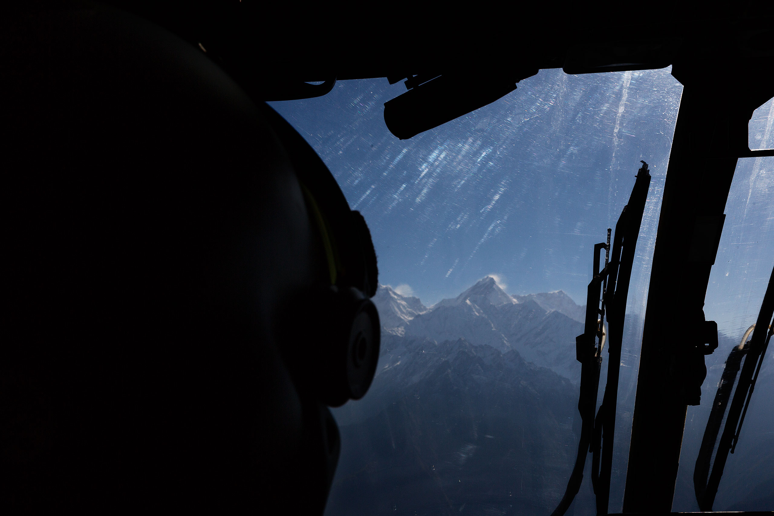 View from the window of a helicopter during relief operations to remote mountain villages in Nepal, May 2, 2015.